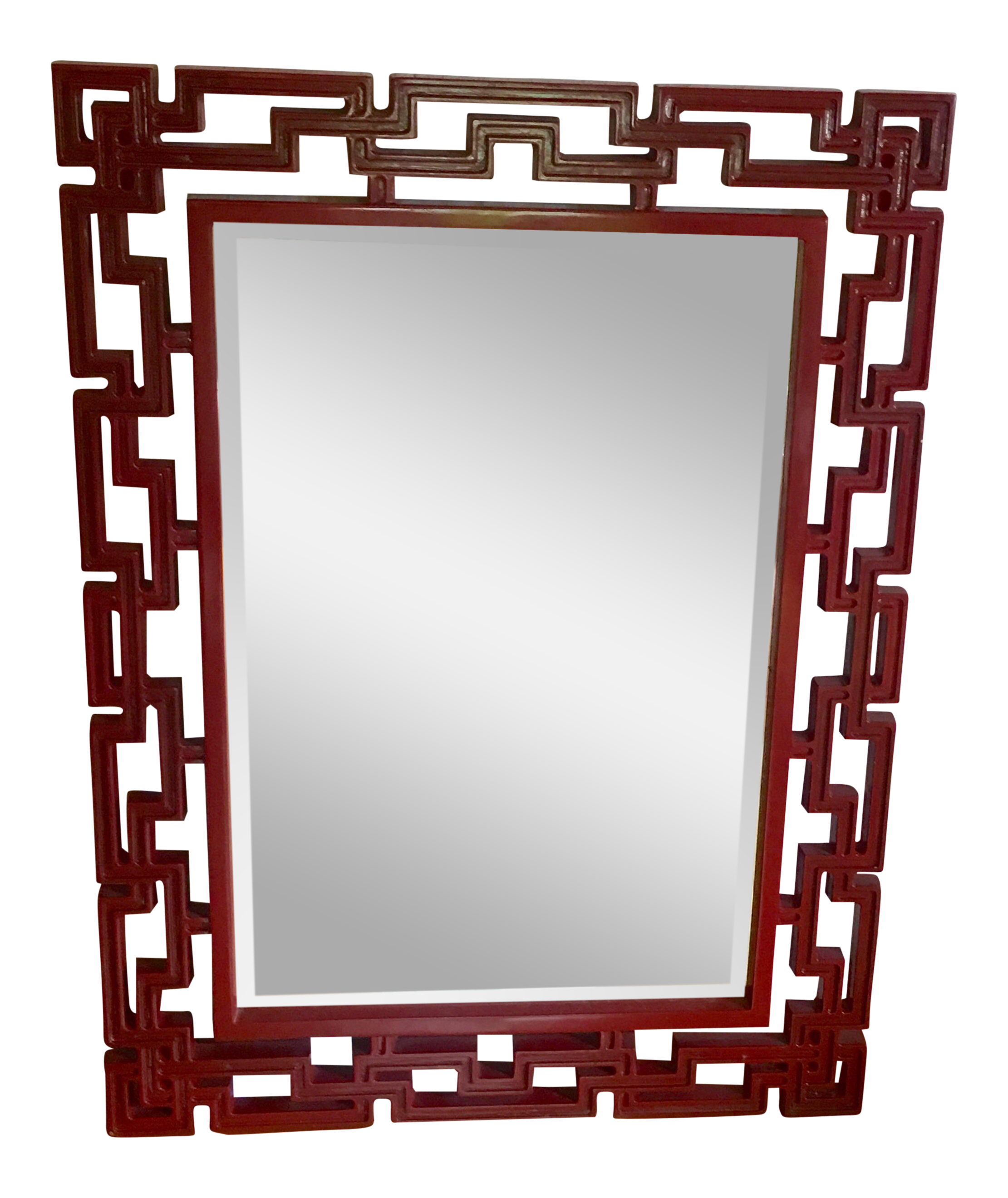 Asian style red laquer mirror chairish for Asian style mirror