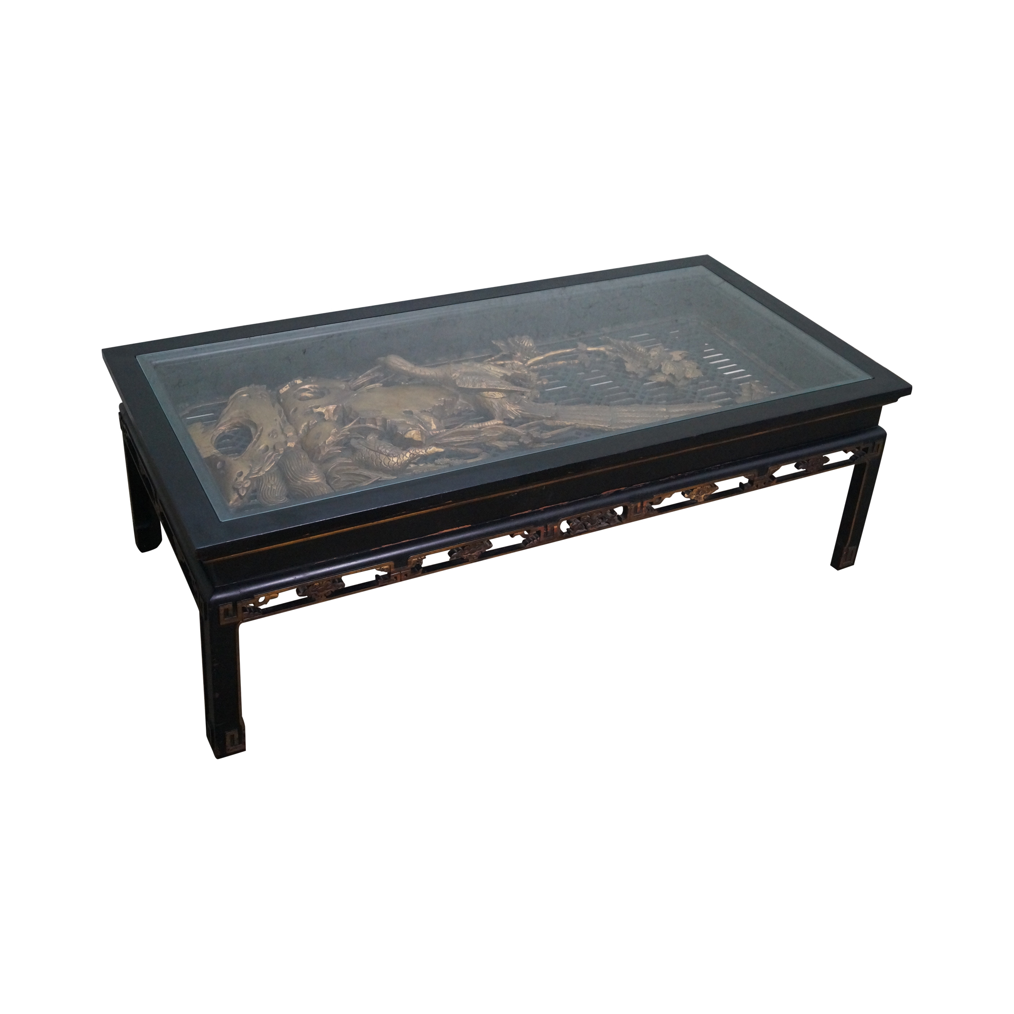 Antique black gold chinese asian coffee table chairish for Table orientale