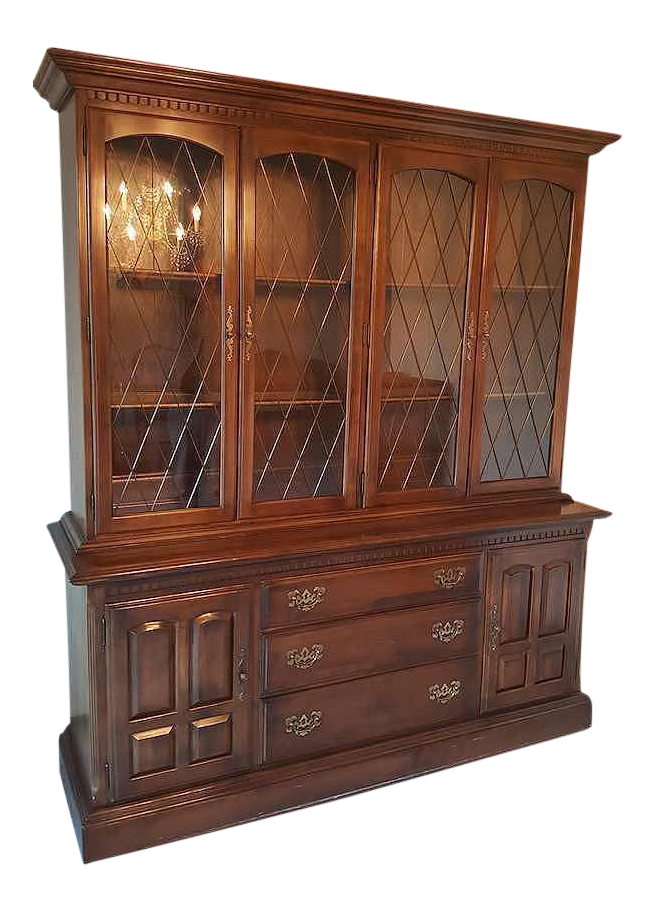 Ethan Allen Lighted China Cabinet Hutch Circa 1960 S