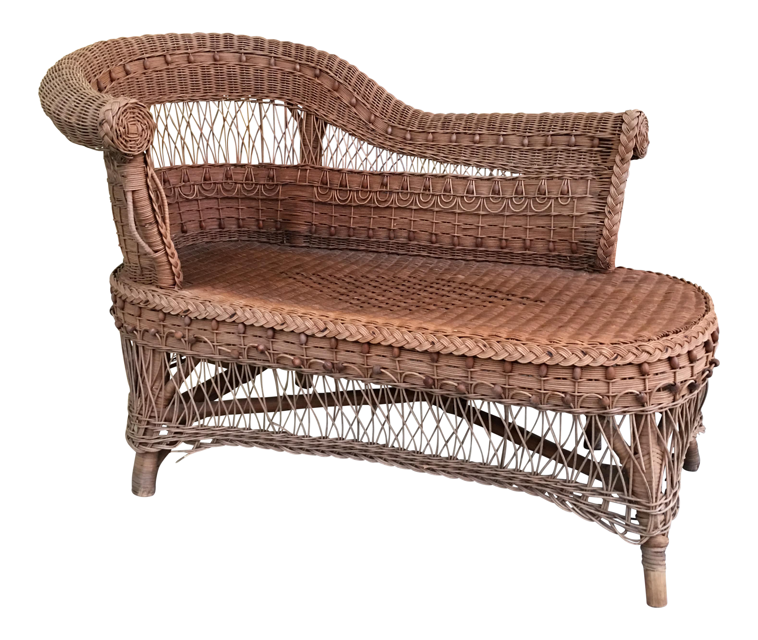 Vintage Boho Wicker Chaise Lounge