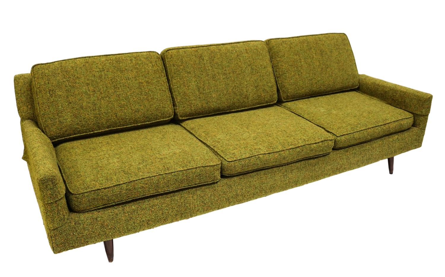 Pillows For Mid Century Modern Sofa : Mid-Century Modern Green Upholstered Sofa Chairish