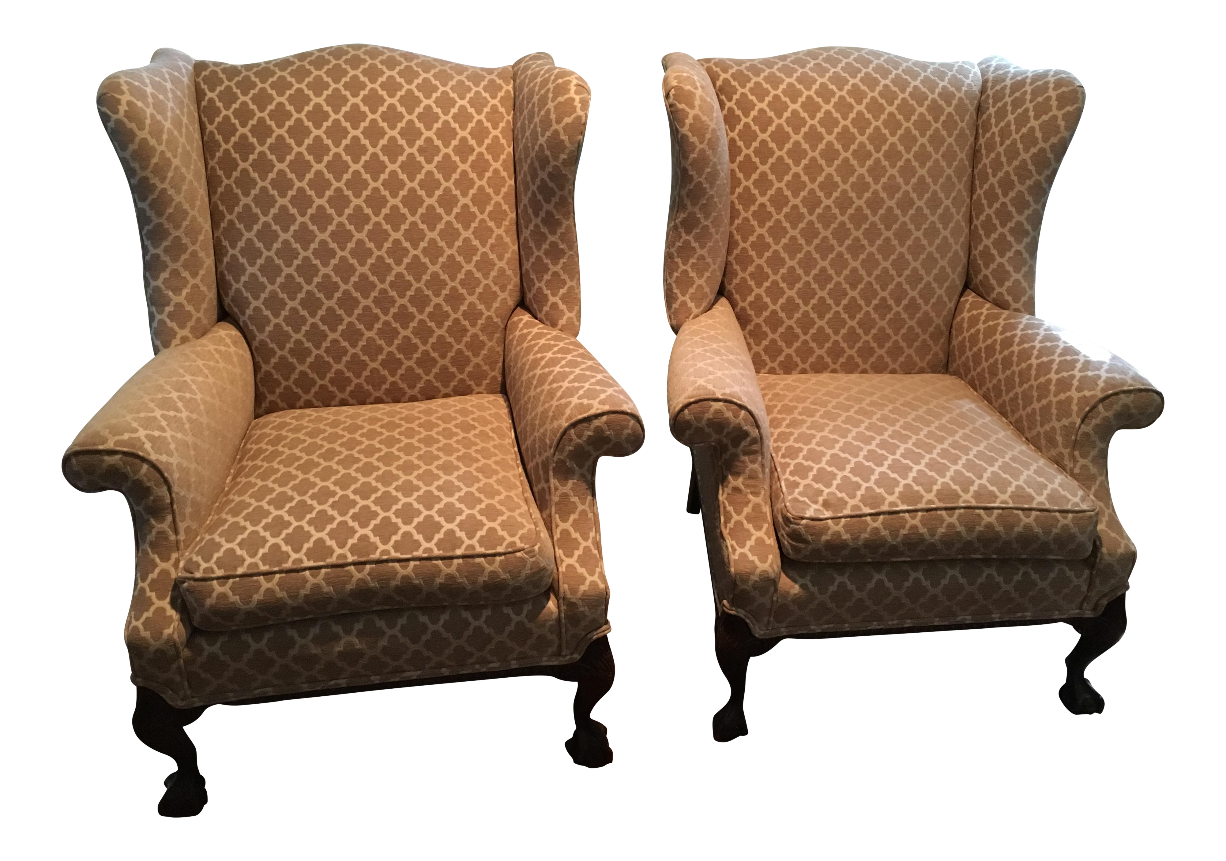 Antique wingback chairs - Image Of Refurbished Antique Wingback Chairs A Pair