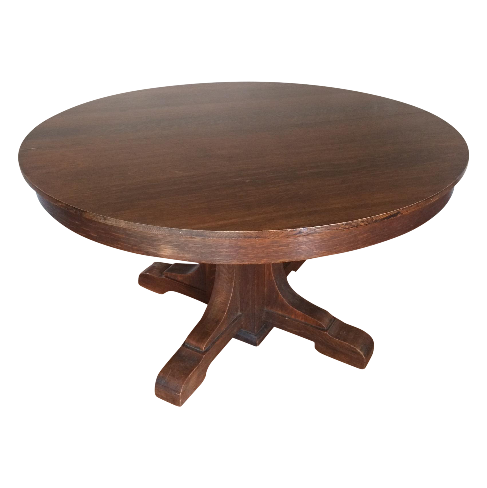 Stickley Style Oak Pedestal Dining Table Chairish