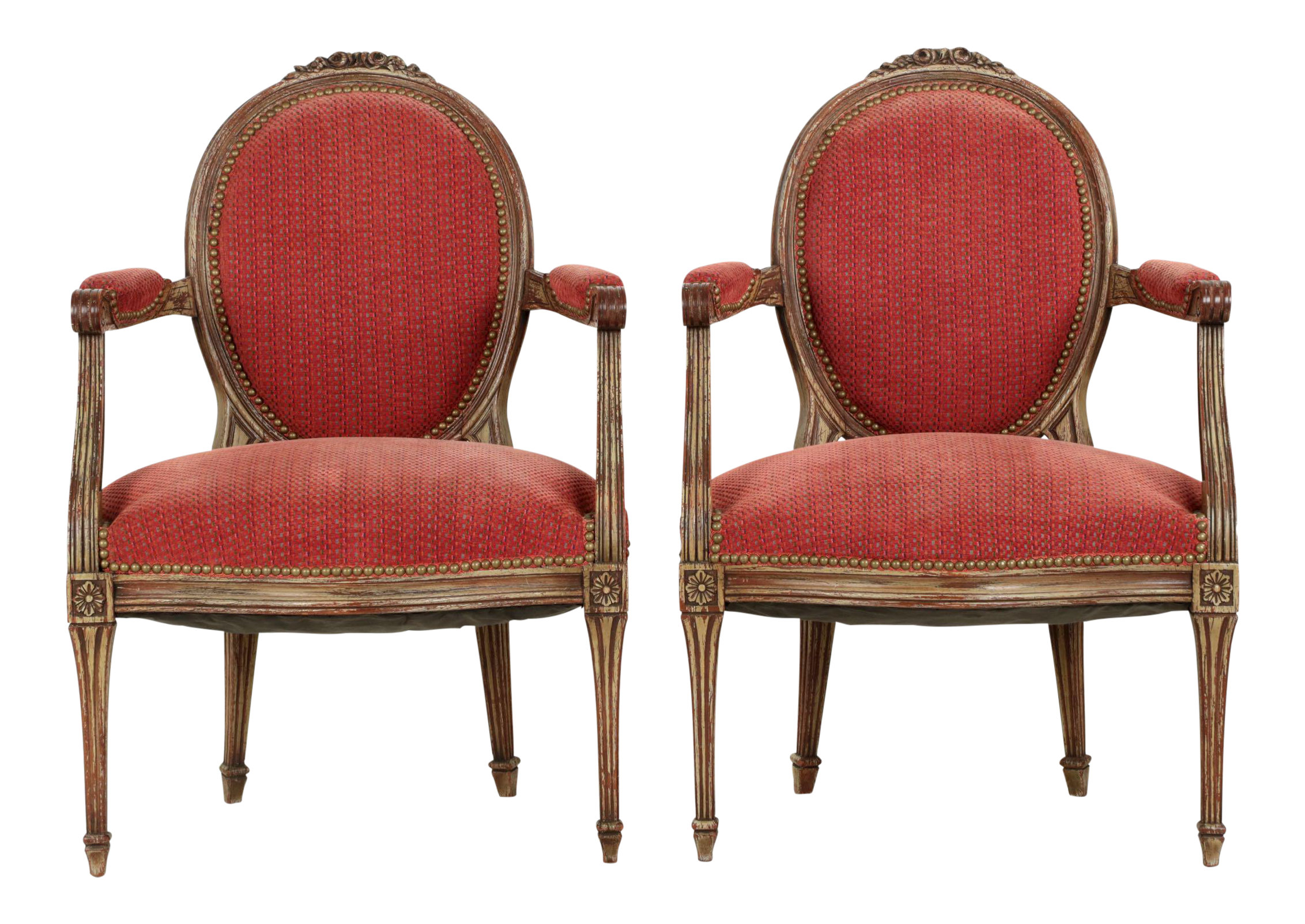 Vintage French Louis XVI Style Gray Painted Fauteuil Arm Chairs