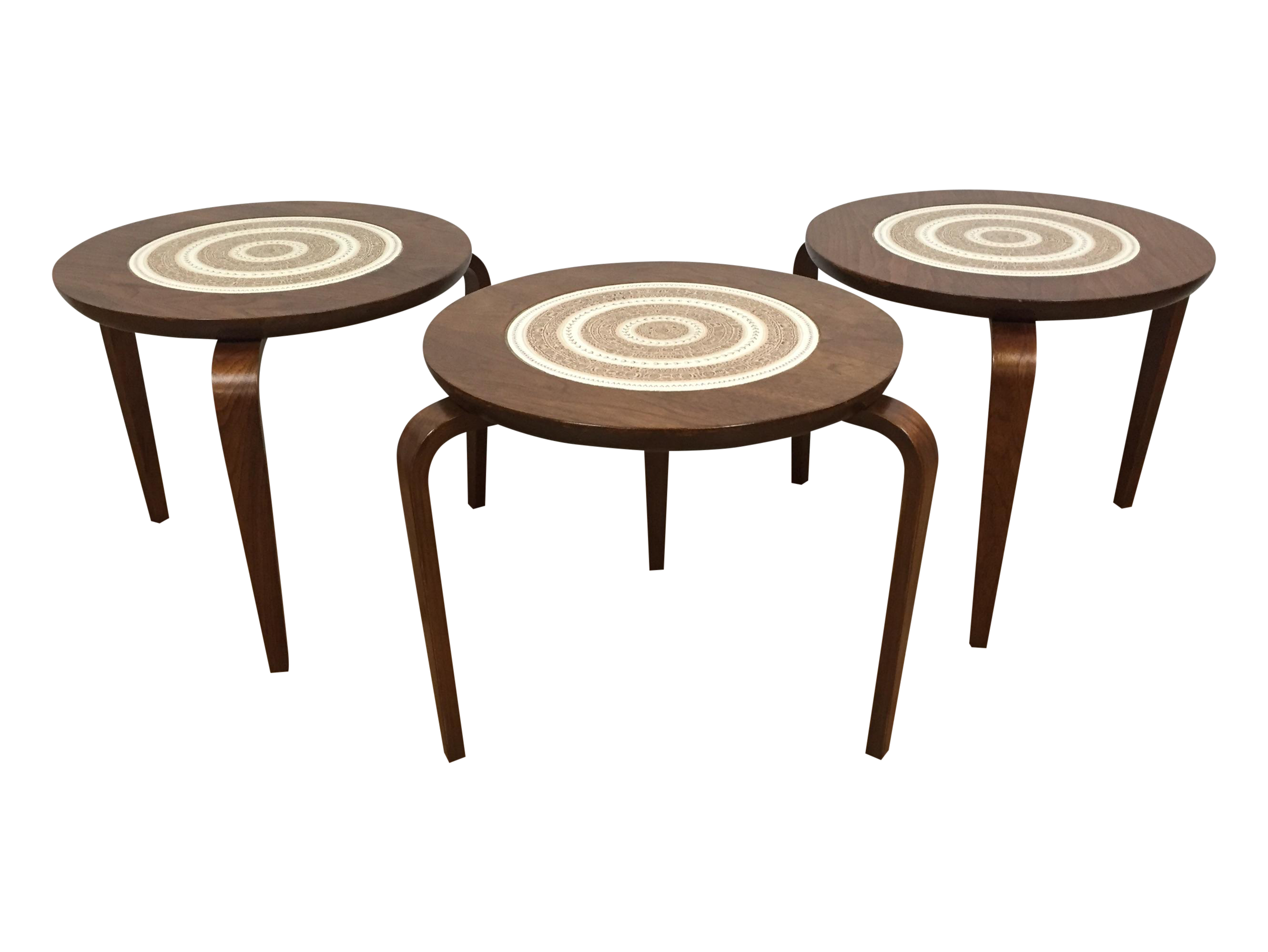 Aalto style walnut stacking tables set of 3 chairish for Small stackable coffee tables