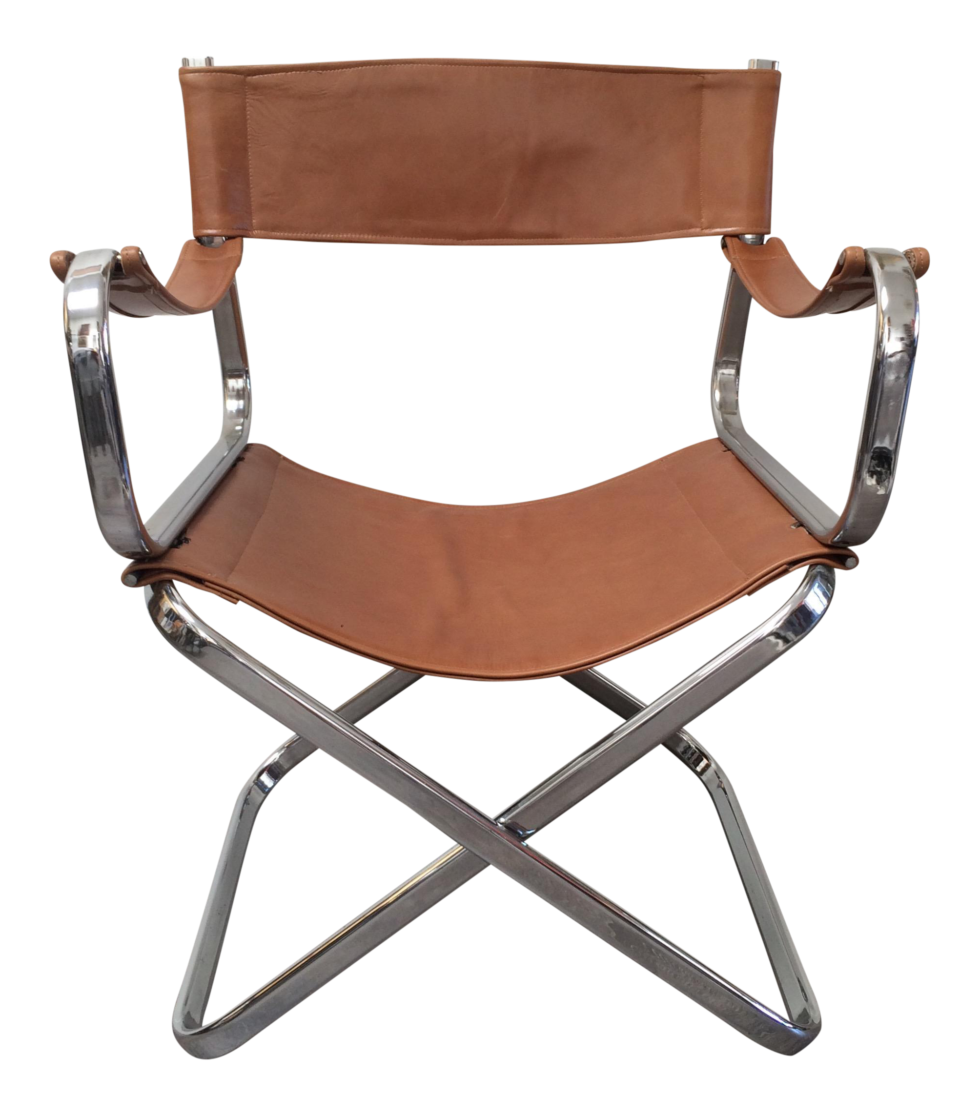 italian chrome leather folding chair by arrben chairish. Black Bedroom Furniture Sets. Home Design Ideas