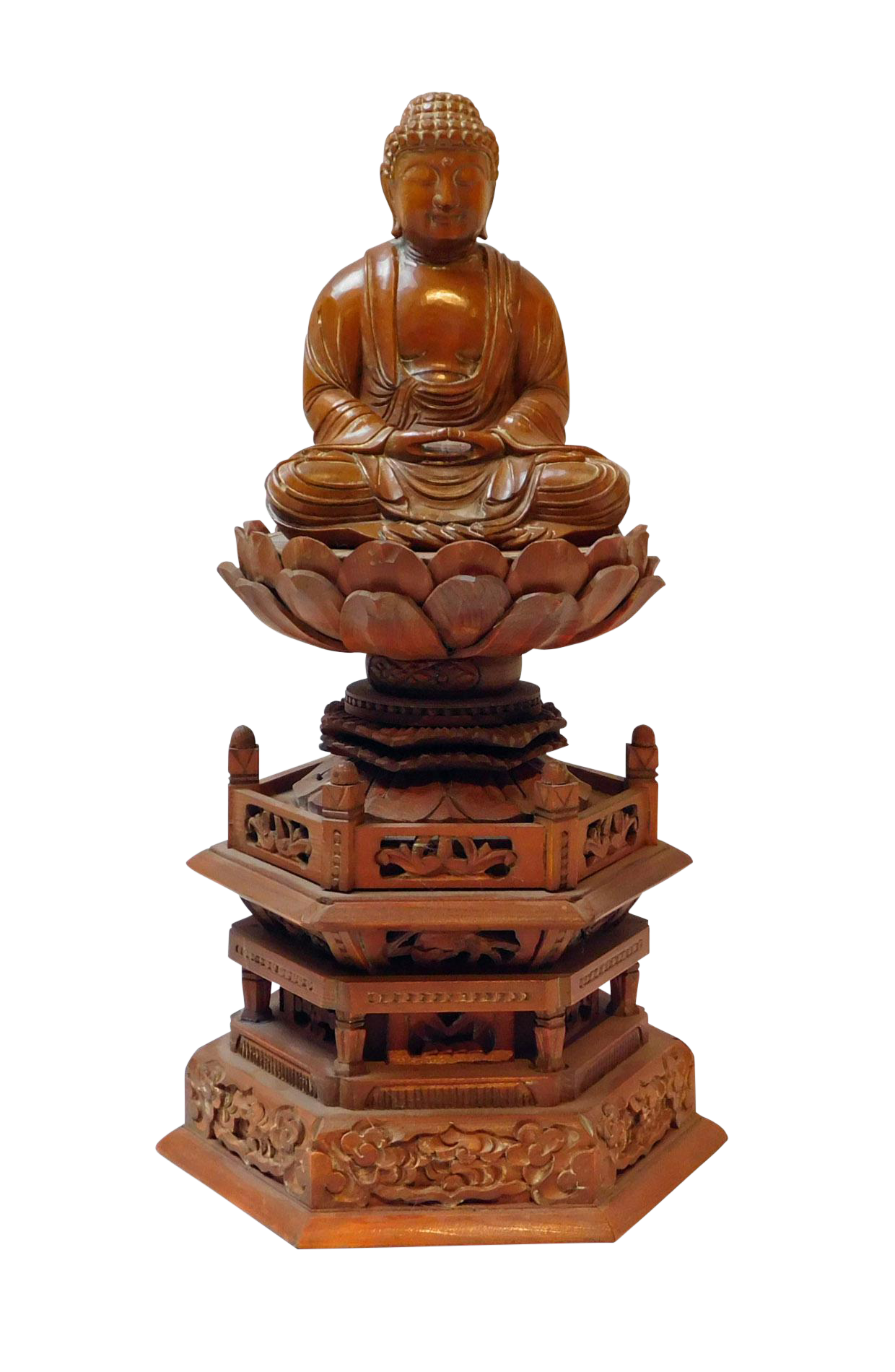 Boxwood Buddha Statue On Tall Lotus Flower Pagoda Base Chairish
