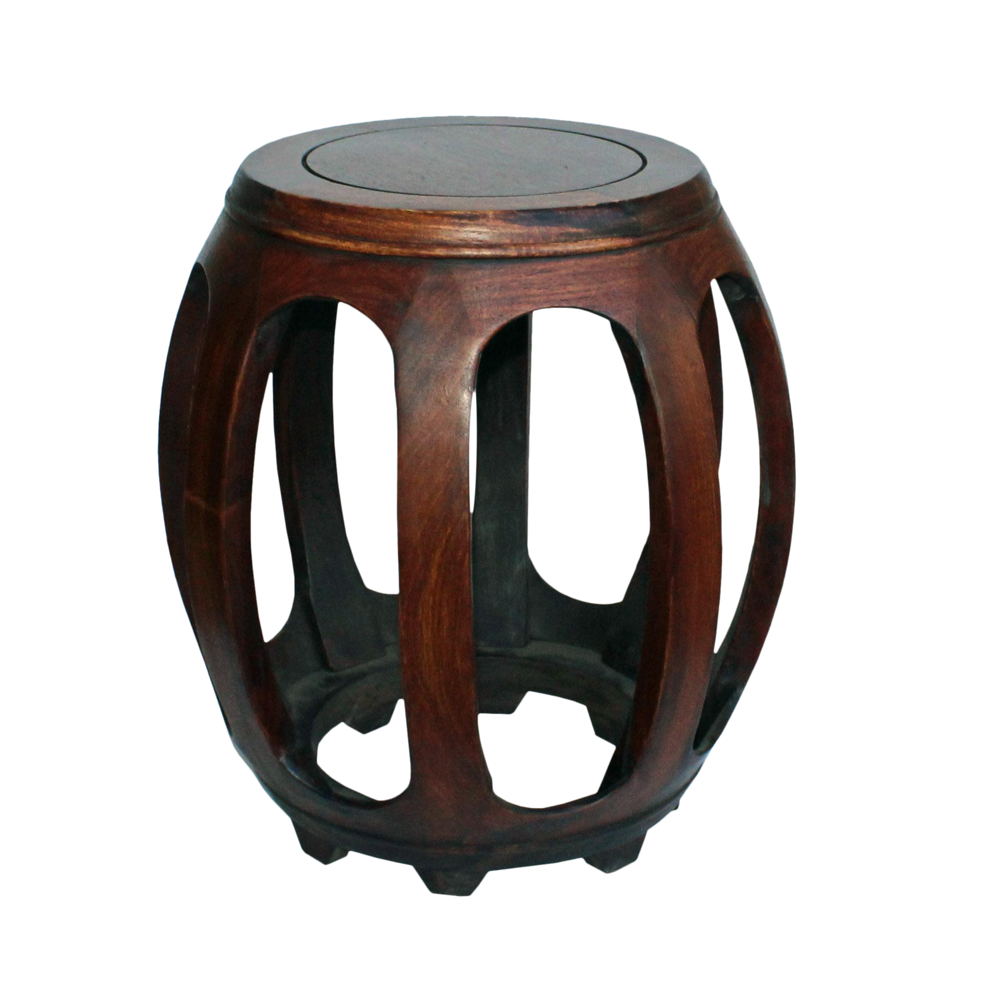 Chinese Oriental Brown Huali Wood Curved Barrel Shape Stool