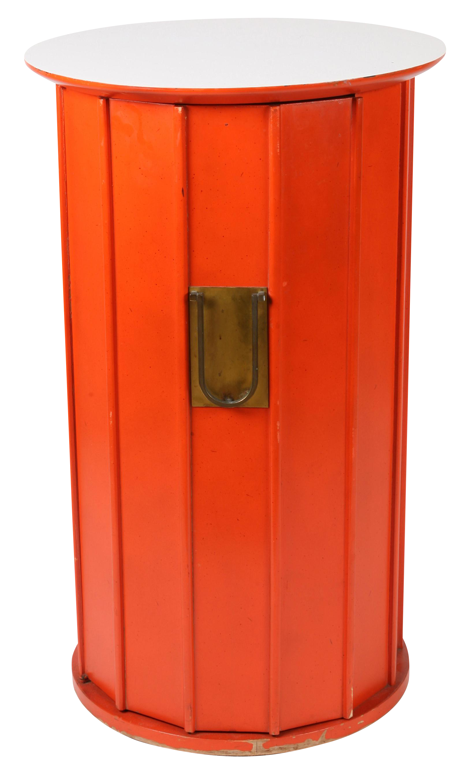 Exceptional Orange Hexagonal Cabinet Side Table Decaso