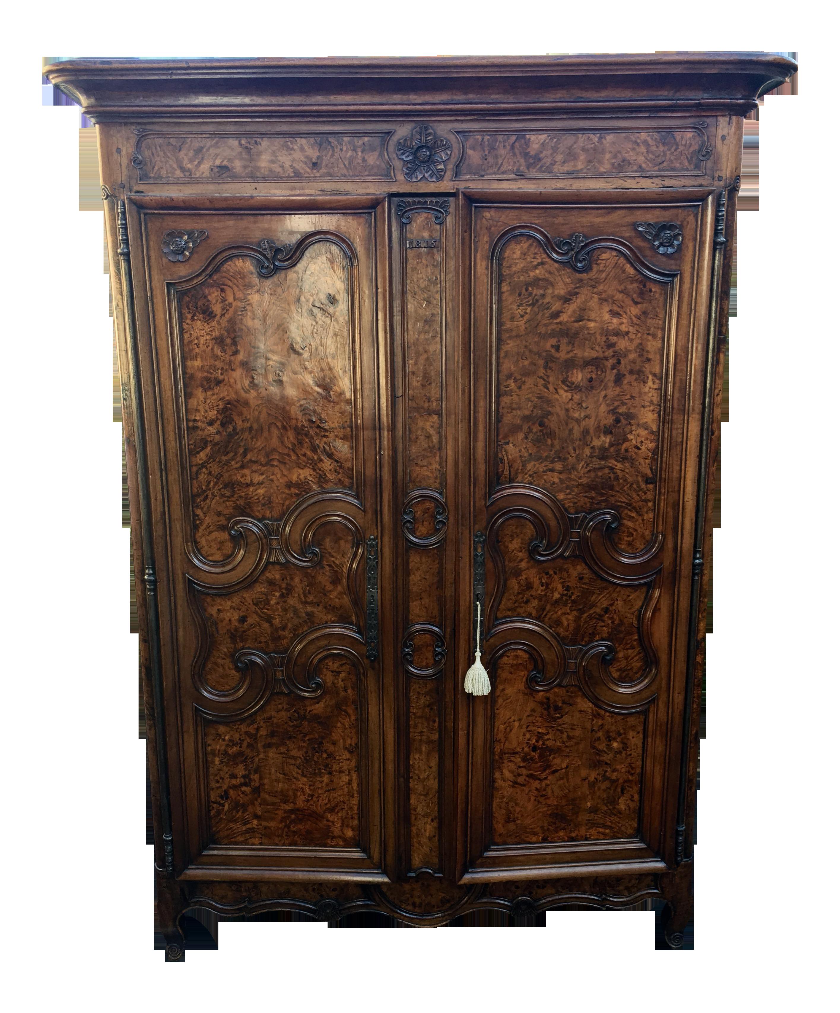 Antique Italian Burl Armoire   Chairish