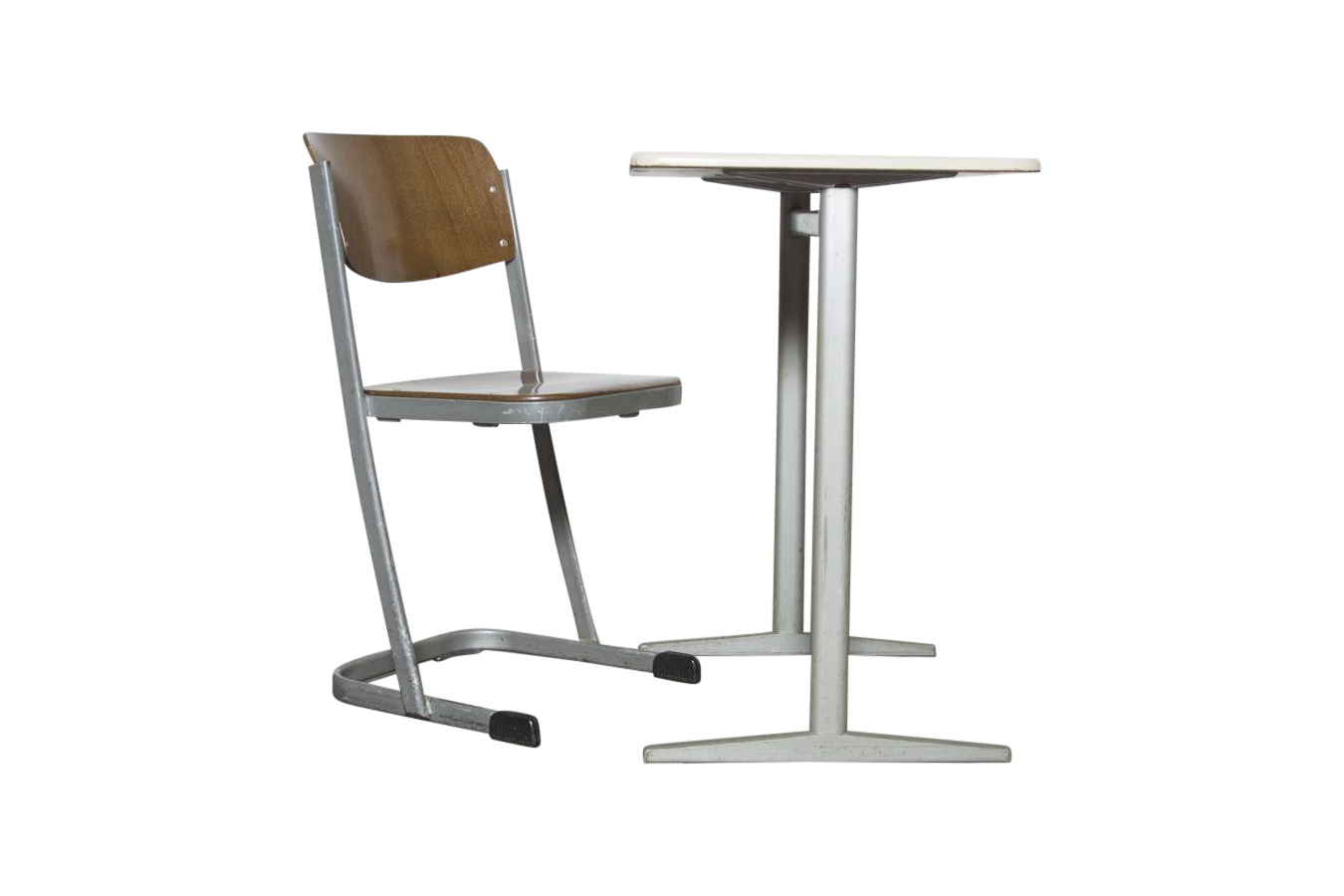Retro industrial school desk and chair set chairish - Cb industry chair ...
