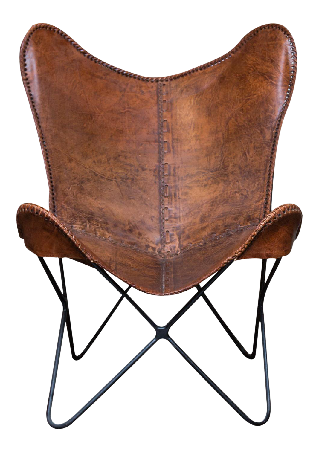 vintage leather butterfly chair chairish. Black Bedroom Furniture Sets. Home Design Ideas