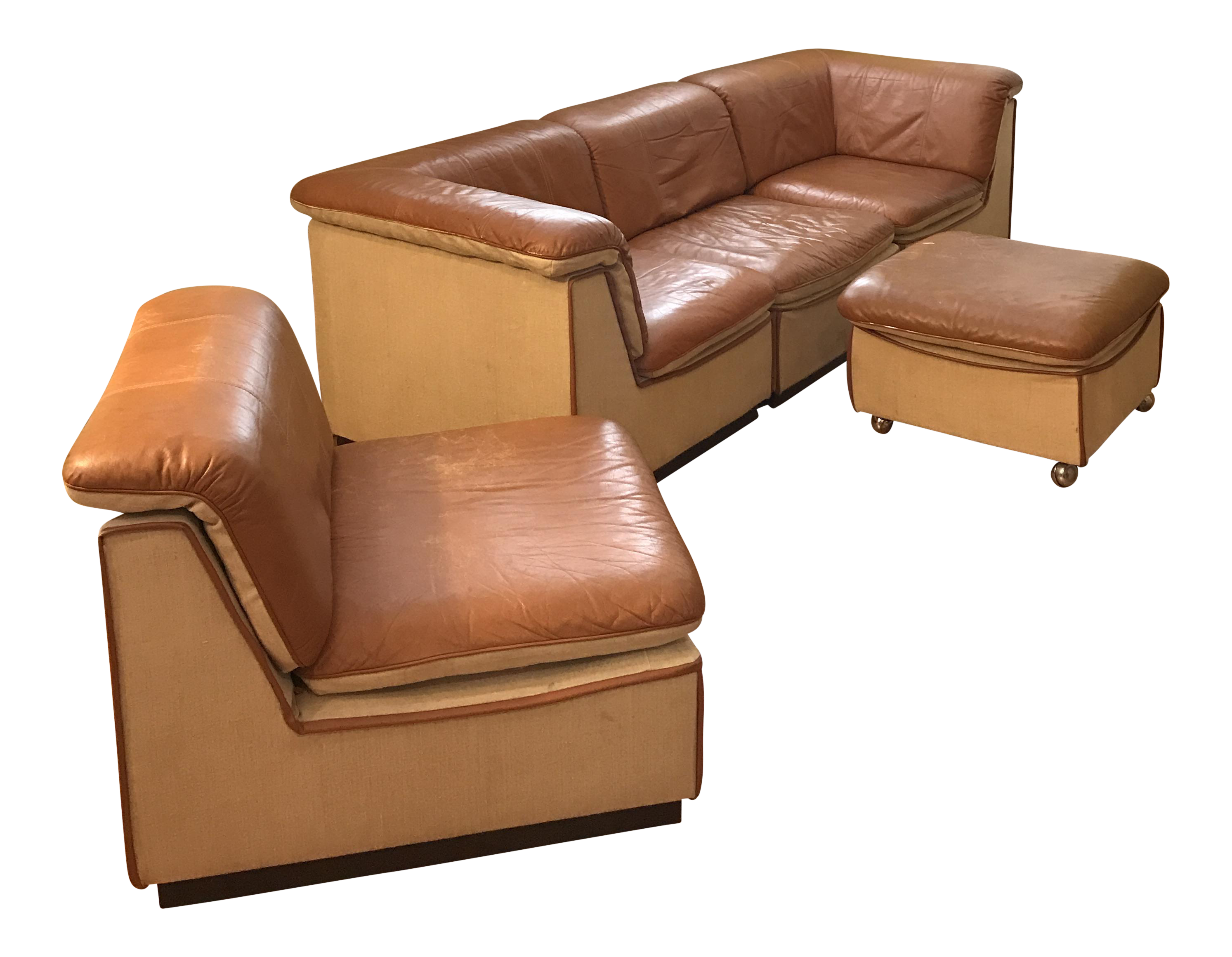 Vintage Rapport Brown Leather Sectional Sofa Set of 5