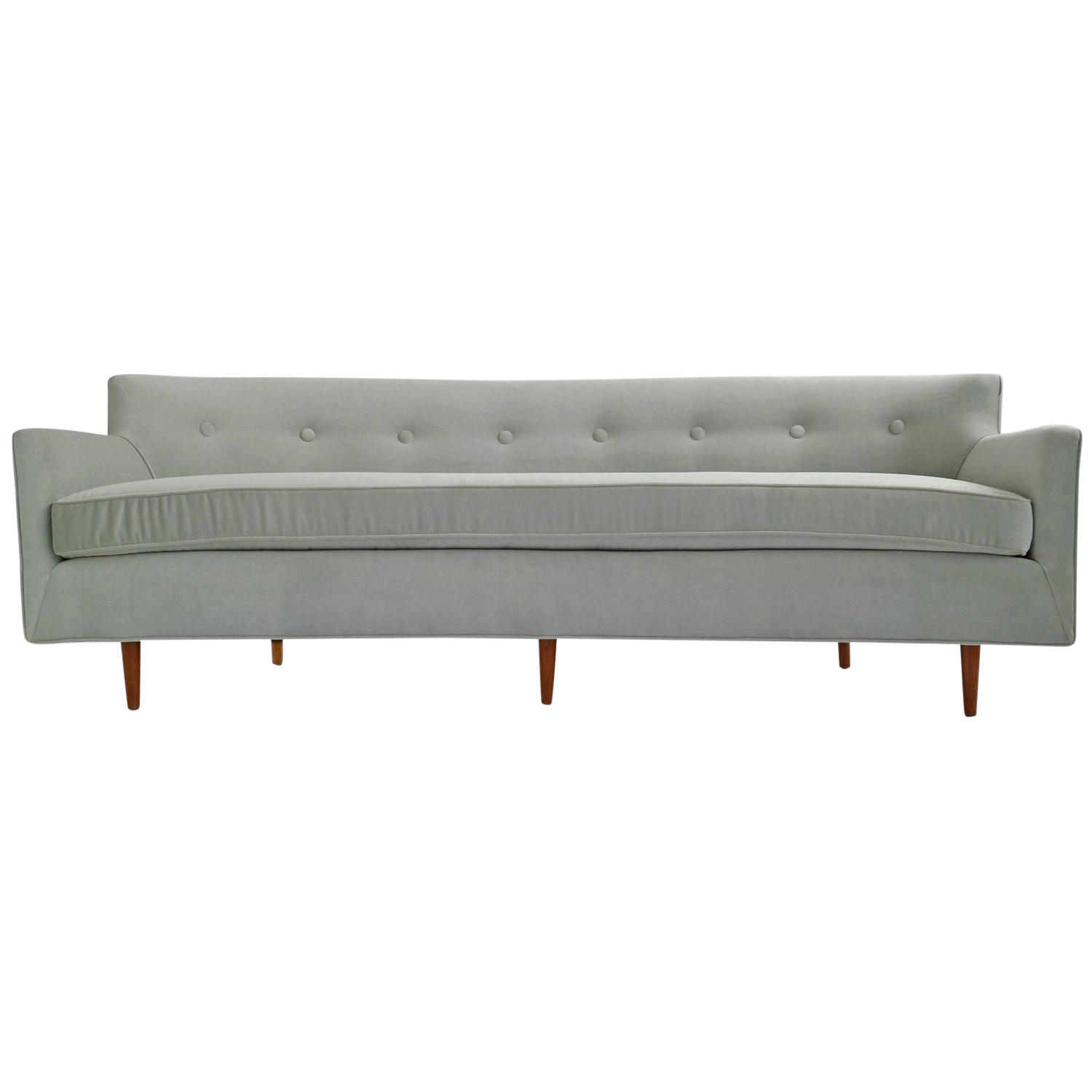 Sophisticated Danish Modern Curved Back Sofa