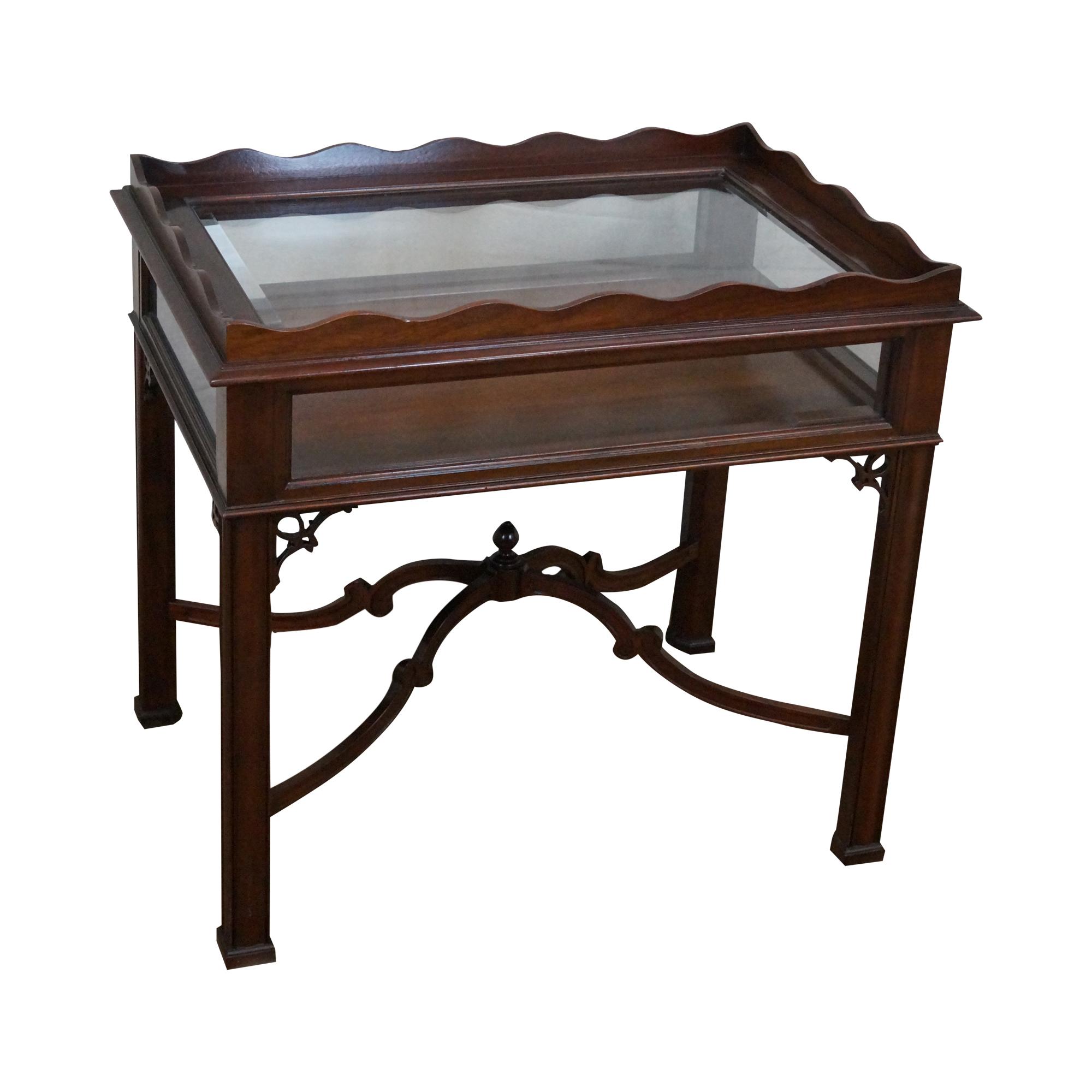 Solid Mahogany Chippendale Curio Top Vitrine Table Chairish