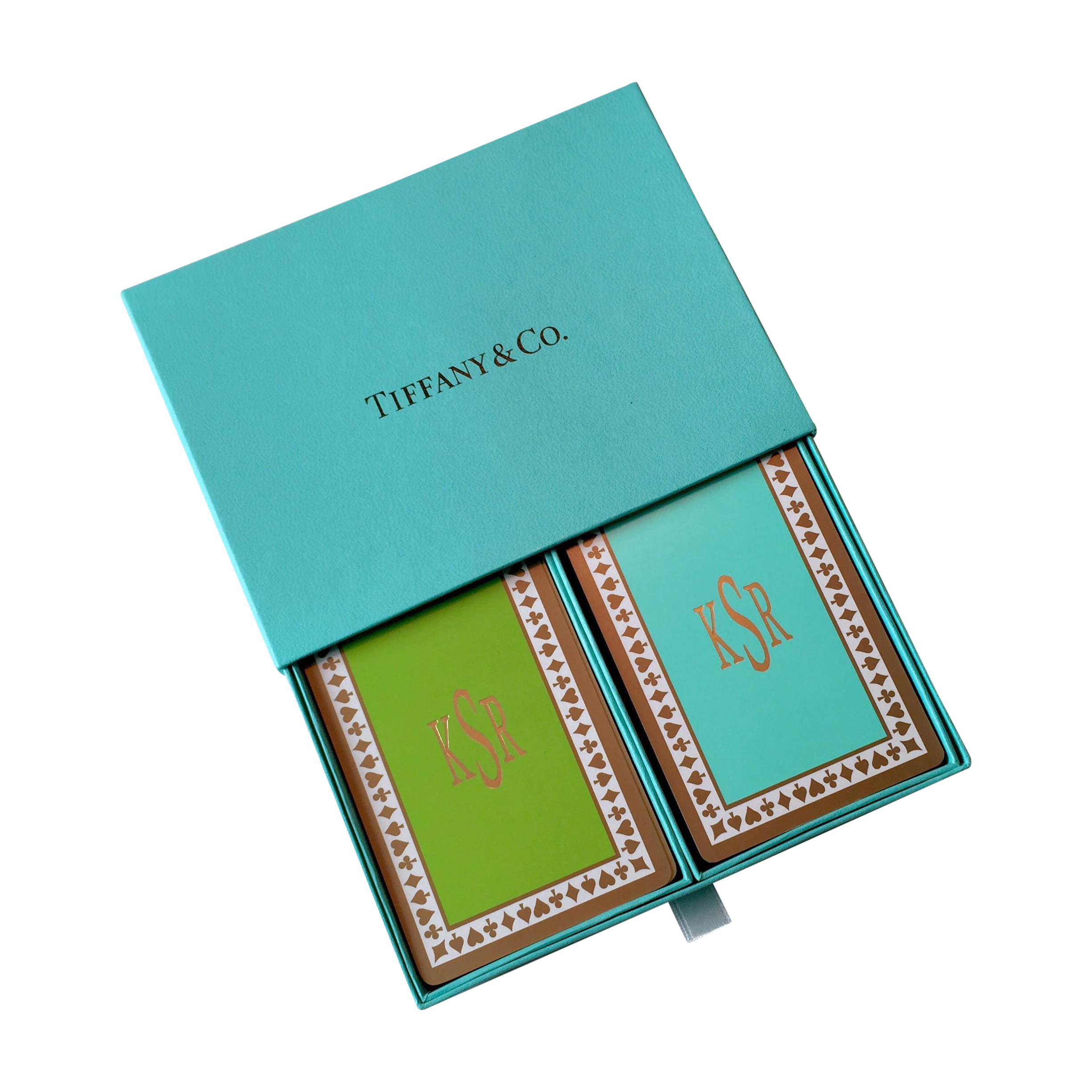 Tiffany Amp Co Monogrammed Playing Card 2 Deck Set Chairish