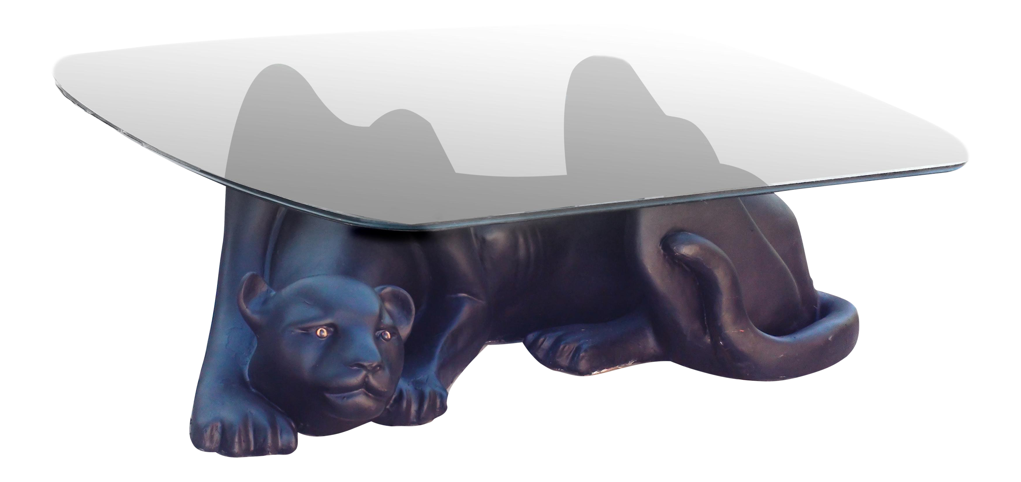 hollywood regency panther coffee table   chairish