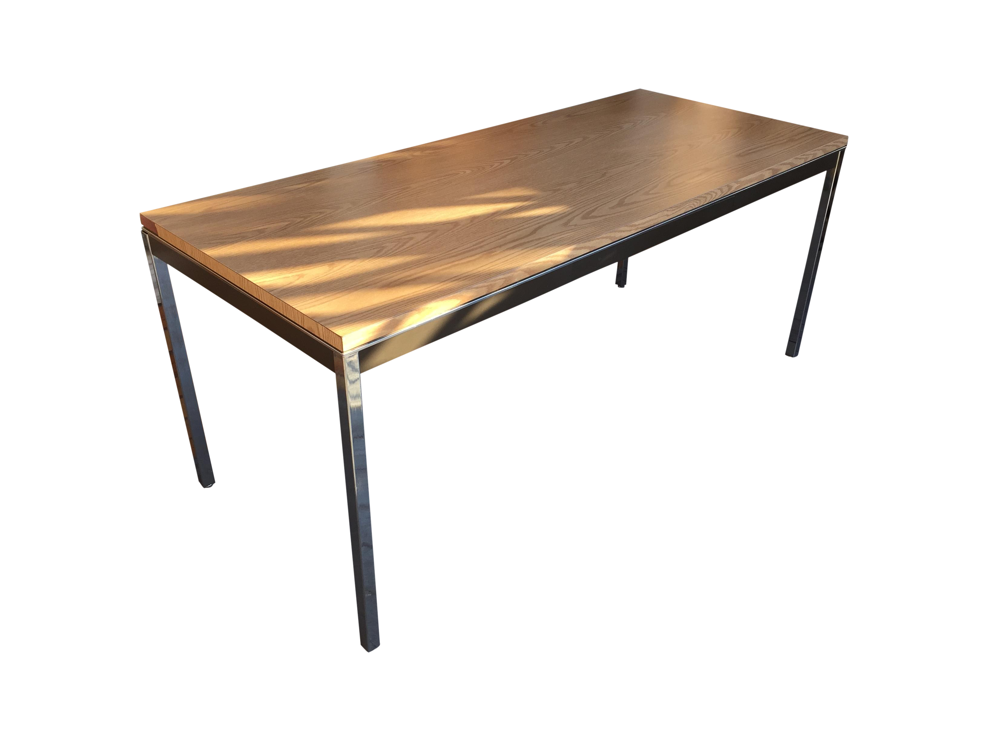 Steelcase Chrome and Oak Writing Desk