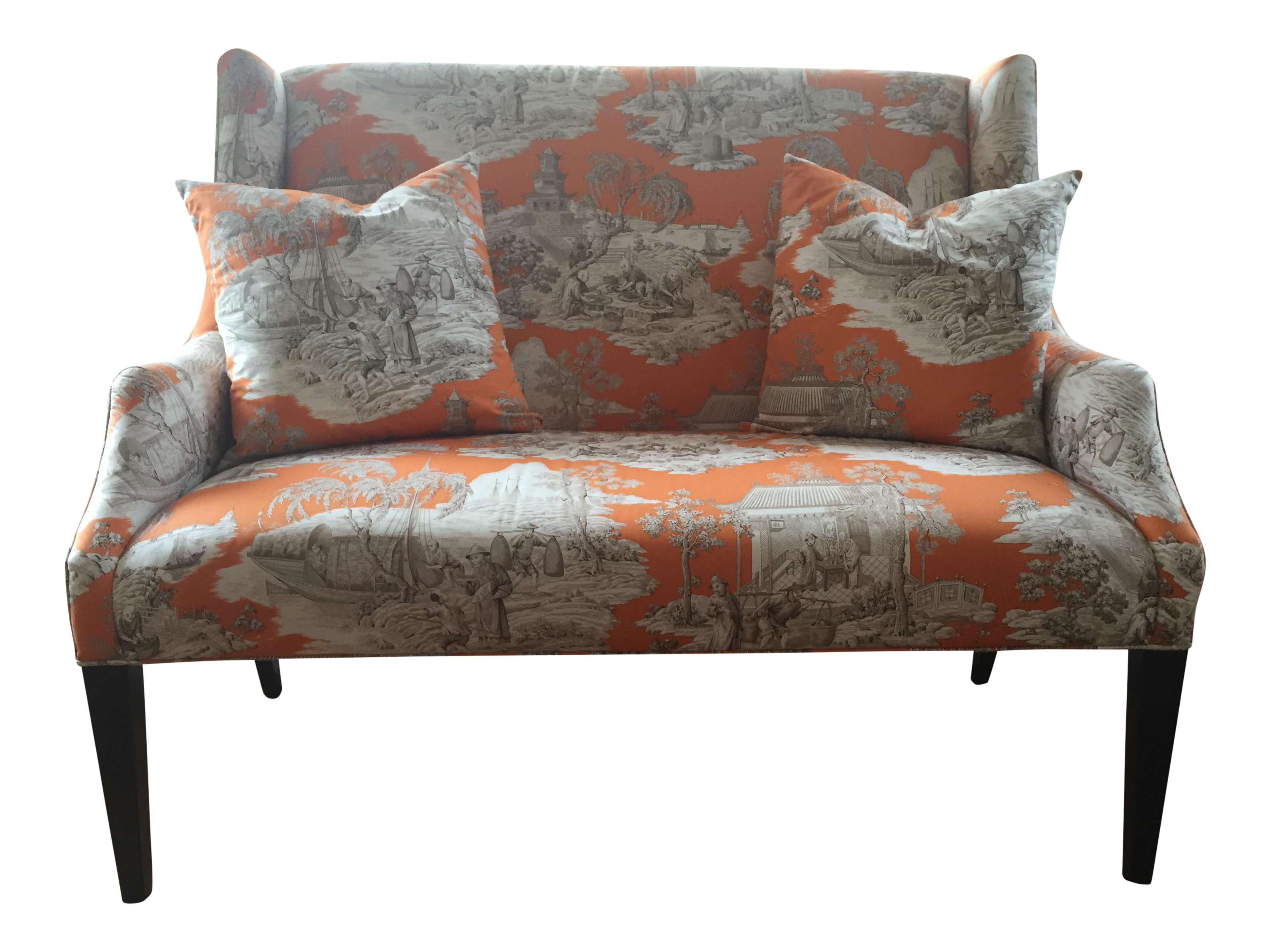 Toile Sofa French Provincial Style Tufted Sofa Newly