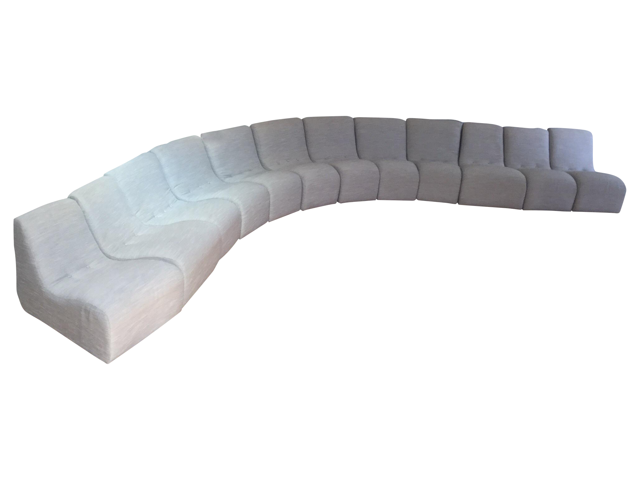 Vintage Modern 12 Piece Serpentine Sectional Sofa