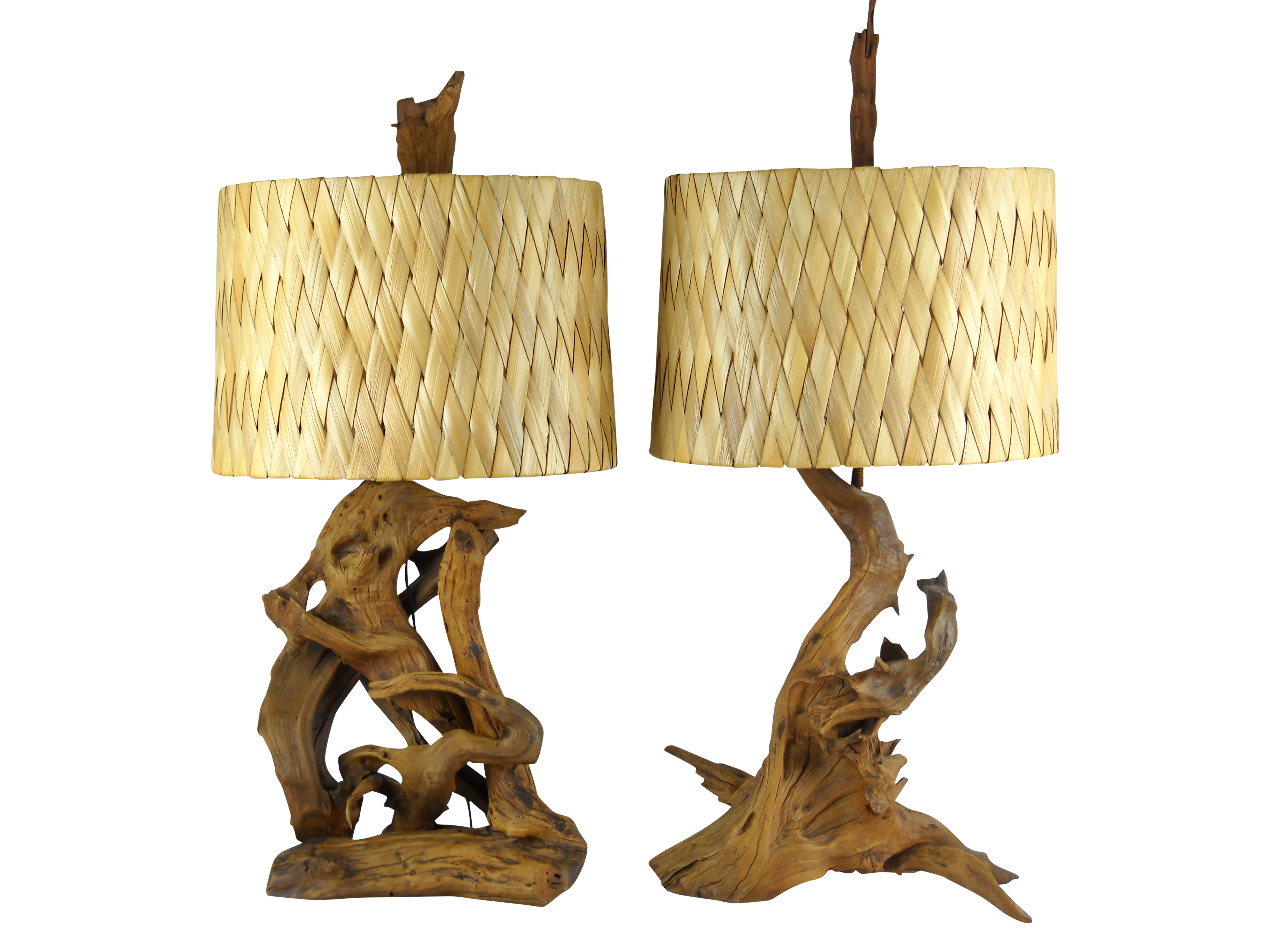 Driftwood Lighting 1950s Driftwood Lamps Woven Palm Leaf Shades Chairish