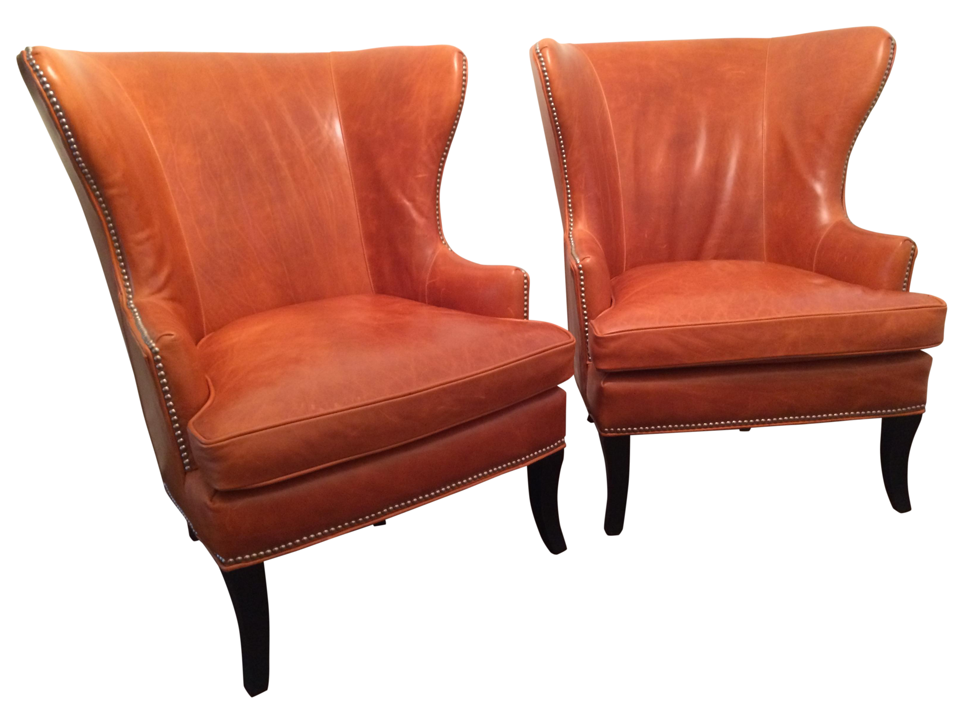 Williams Sonoma Chelsea Leather Wing Chairs Pair
