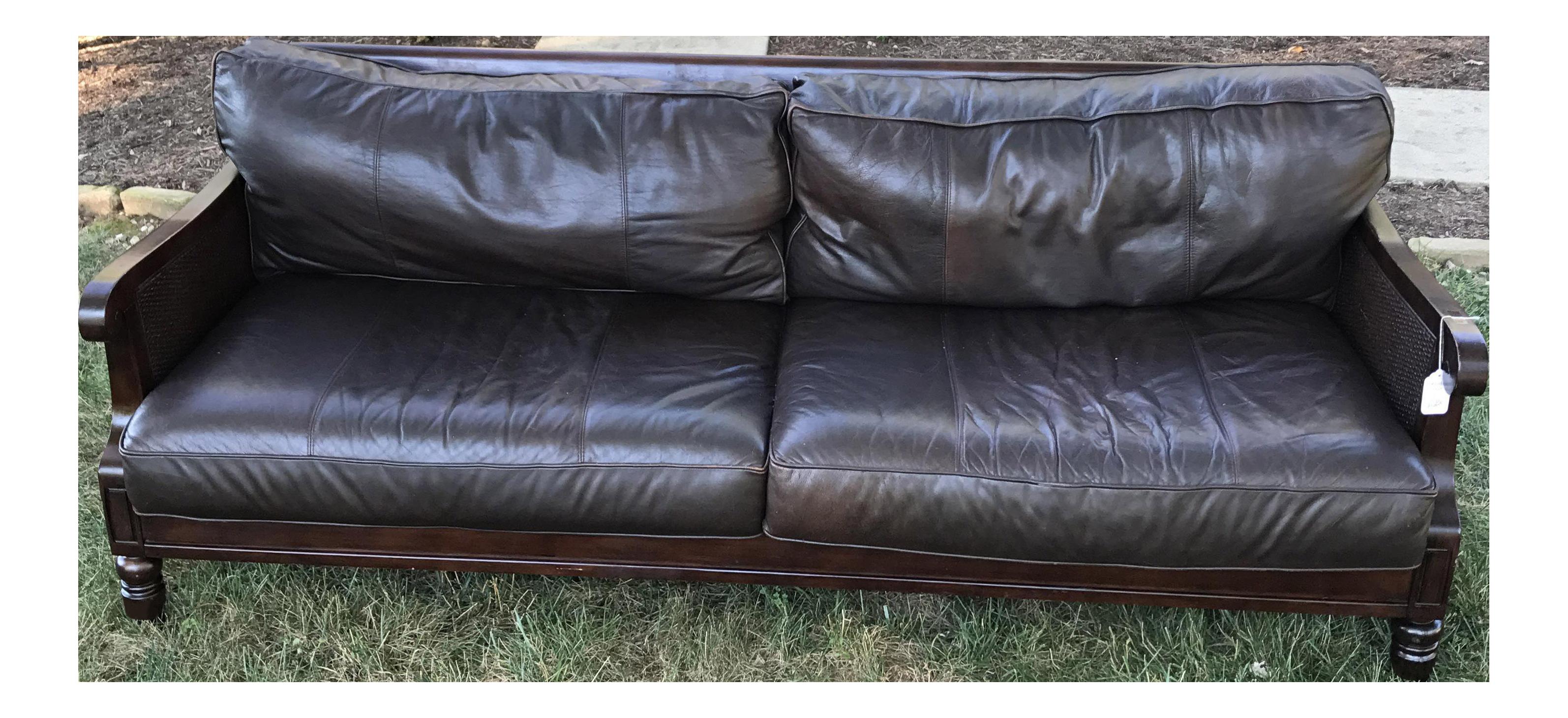Bernhardt Leather & Cane Sofa