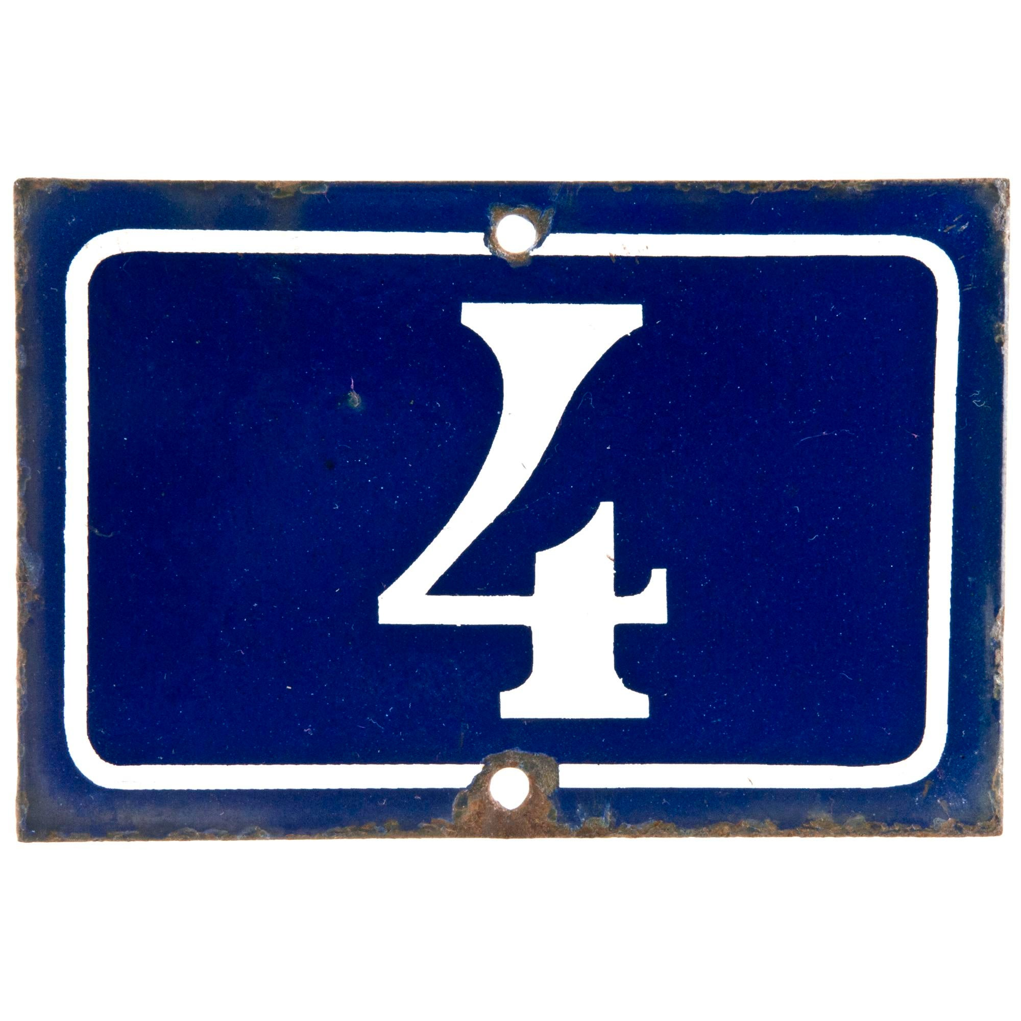 French enamel number 4 house sign chairish for Number 1 online shopping site