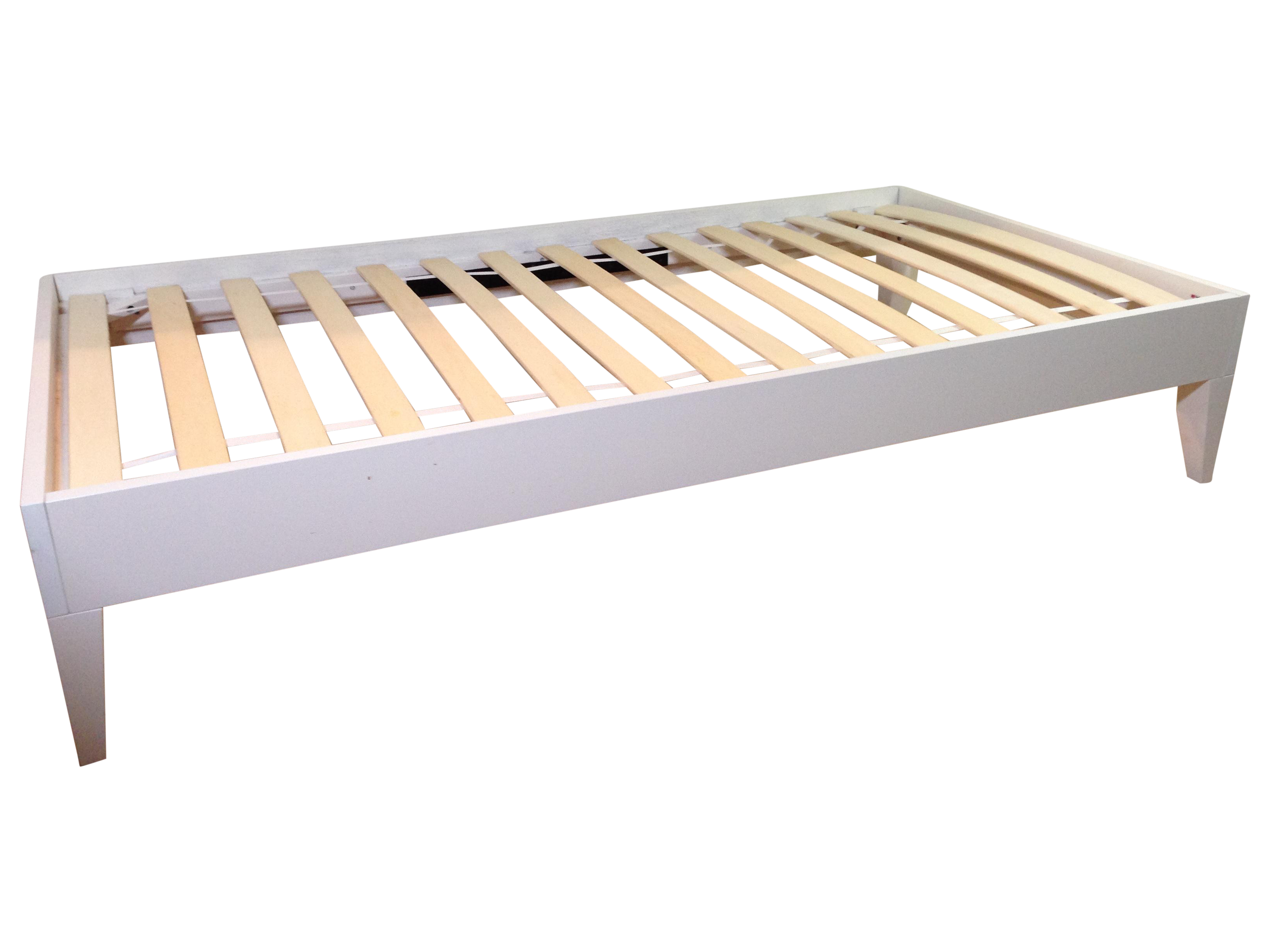 image of white west elm narrow leg wood bed frame