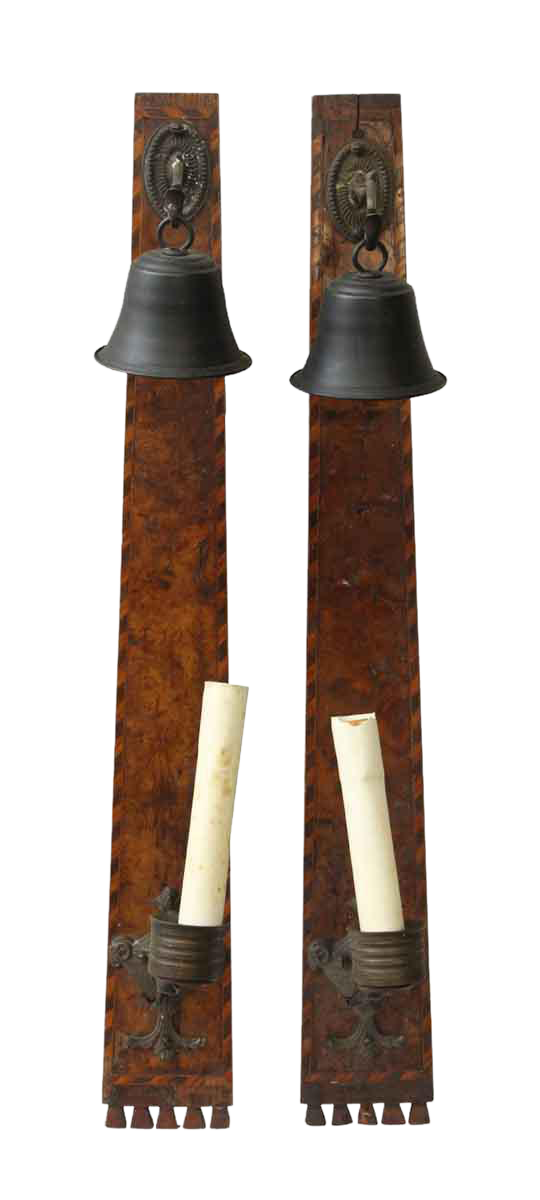 Arts crafts style bell candle sconces a pair chairish for Arts and crafts candle sconces