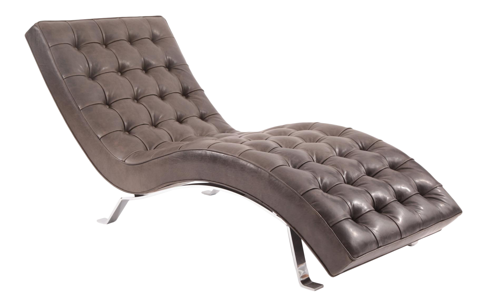 Button tufted gray leather chaise longue chairish for Button tufted chaise settee green
