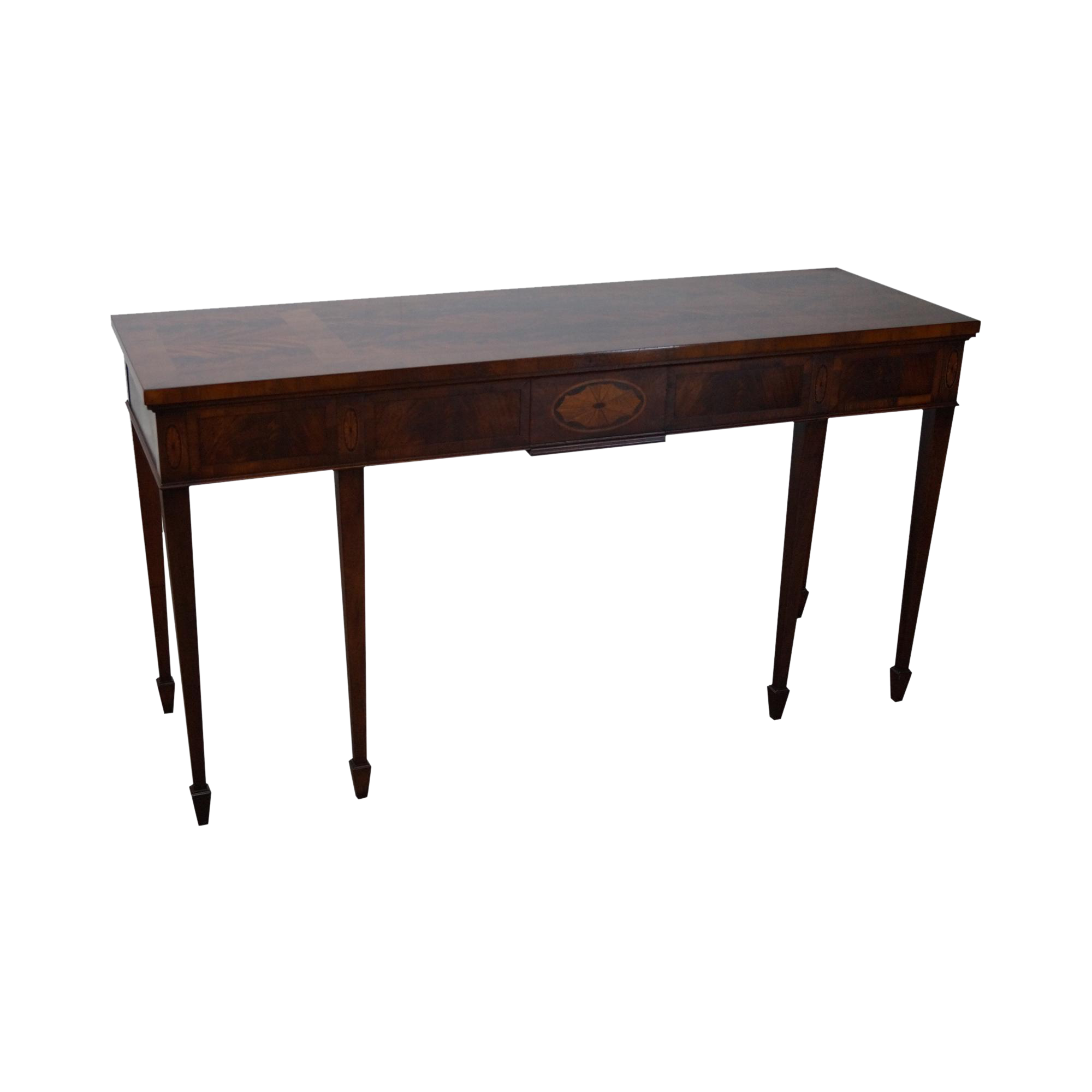 Hekman flame mahogany yew wood inlaid federal style for Yew sofa table