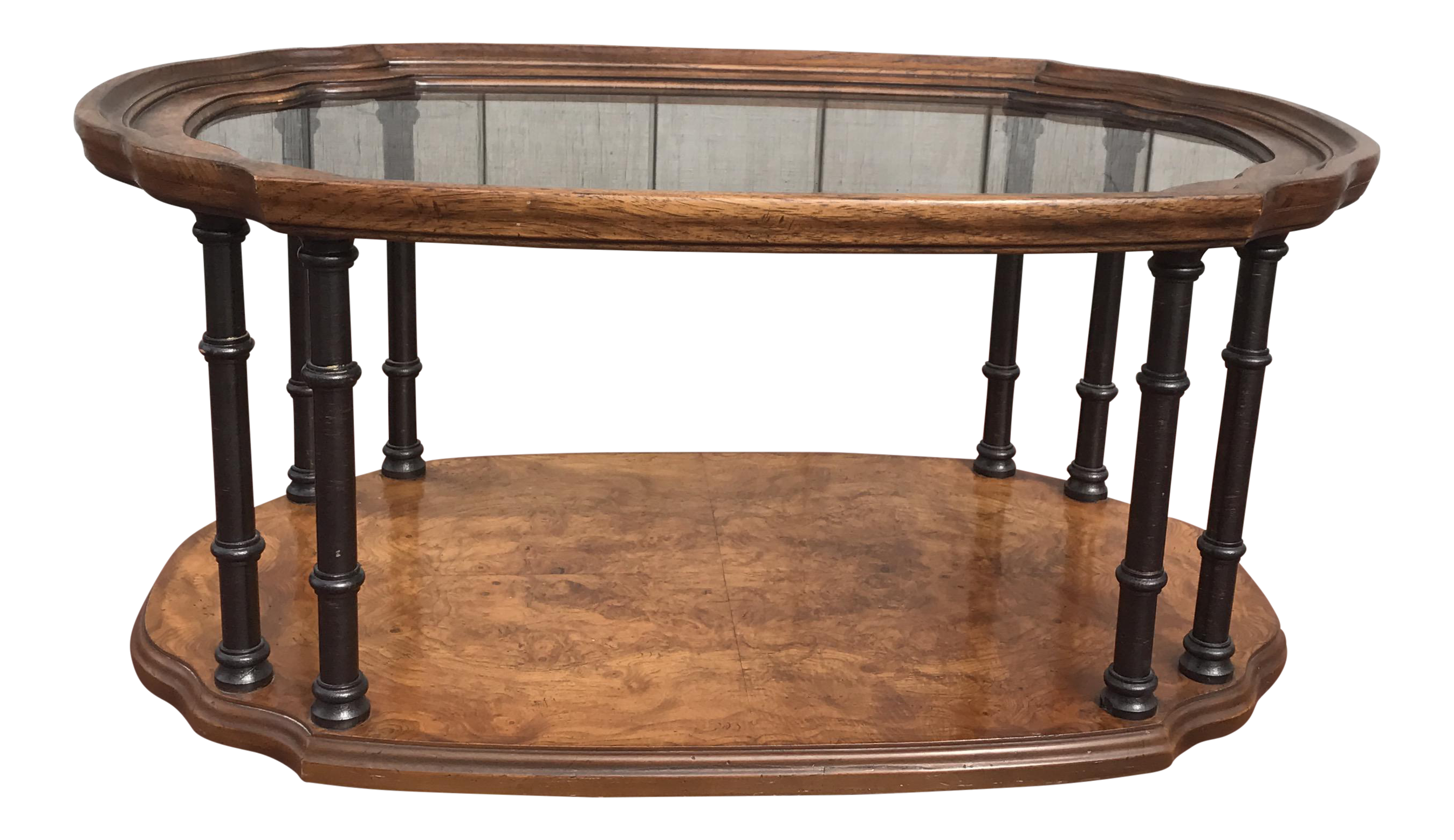 Drexel Burl Wood & Faux Bamboo Coffee Table