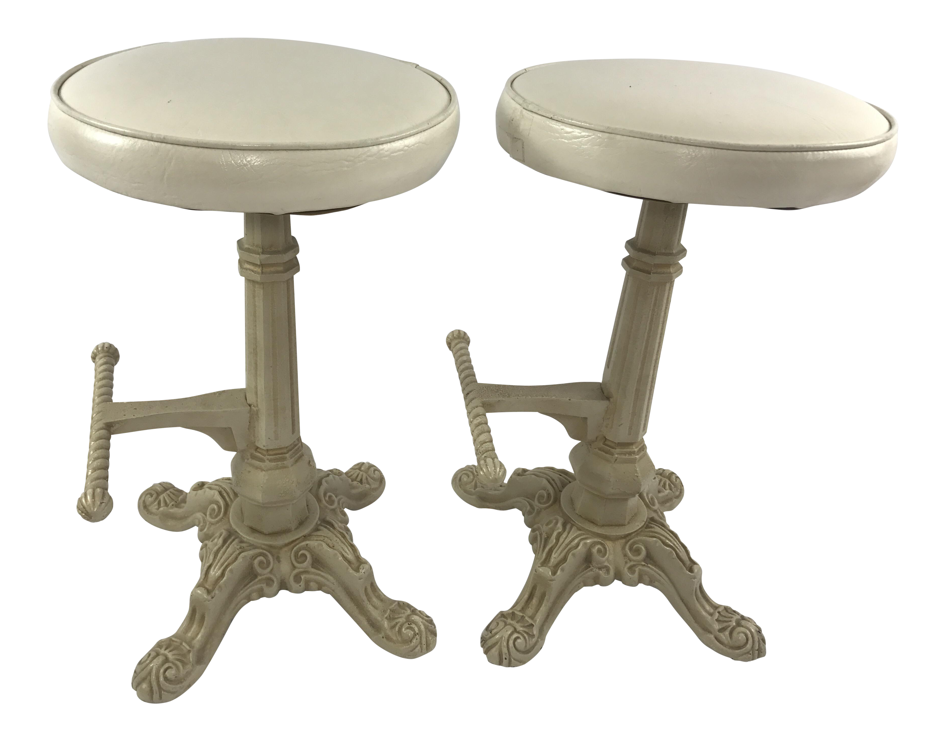 antique cast iron counter stools with foot pegs a pair