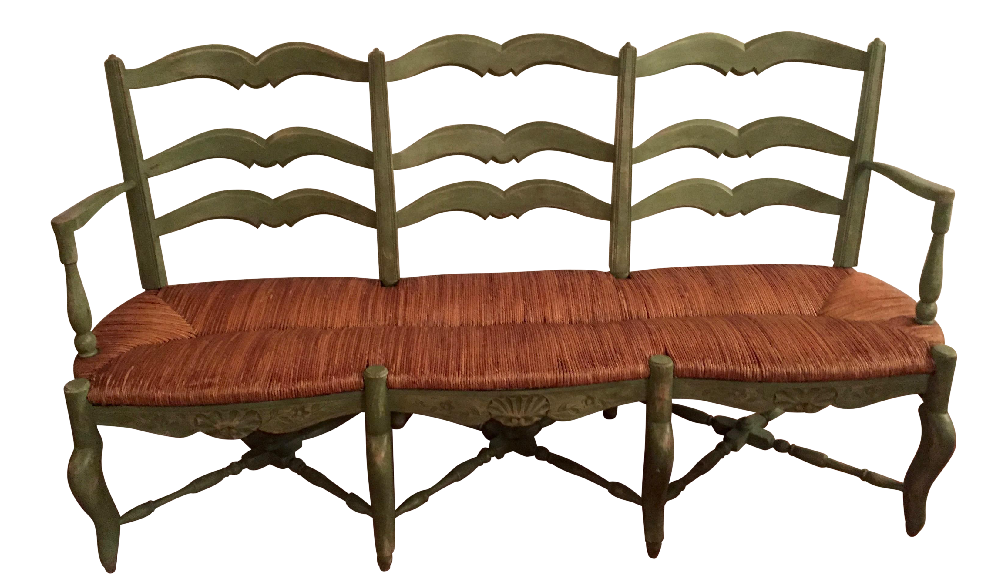 French Country Radassie Rush Seat Wooden Bench Chairish - French country bench