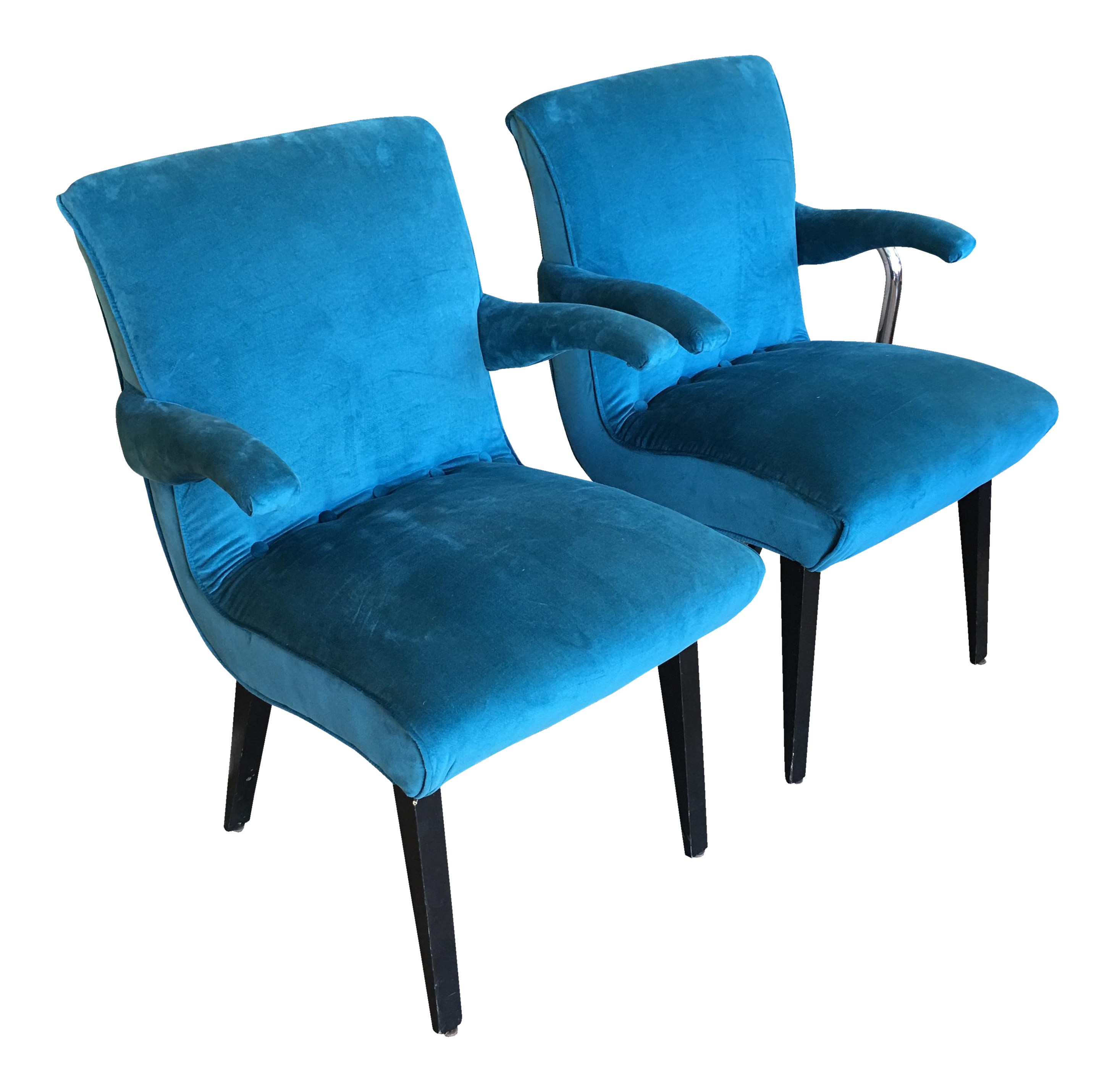 1960s Vintage Peacock Blue Accent Chairs a Pair