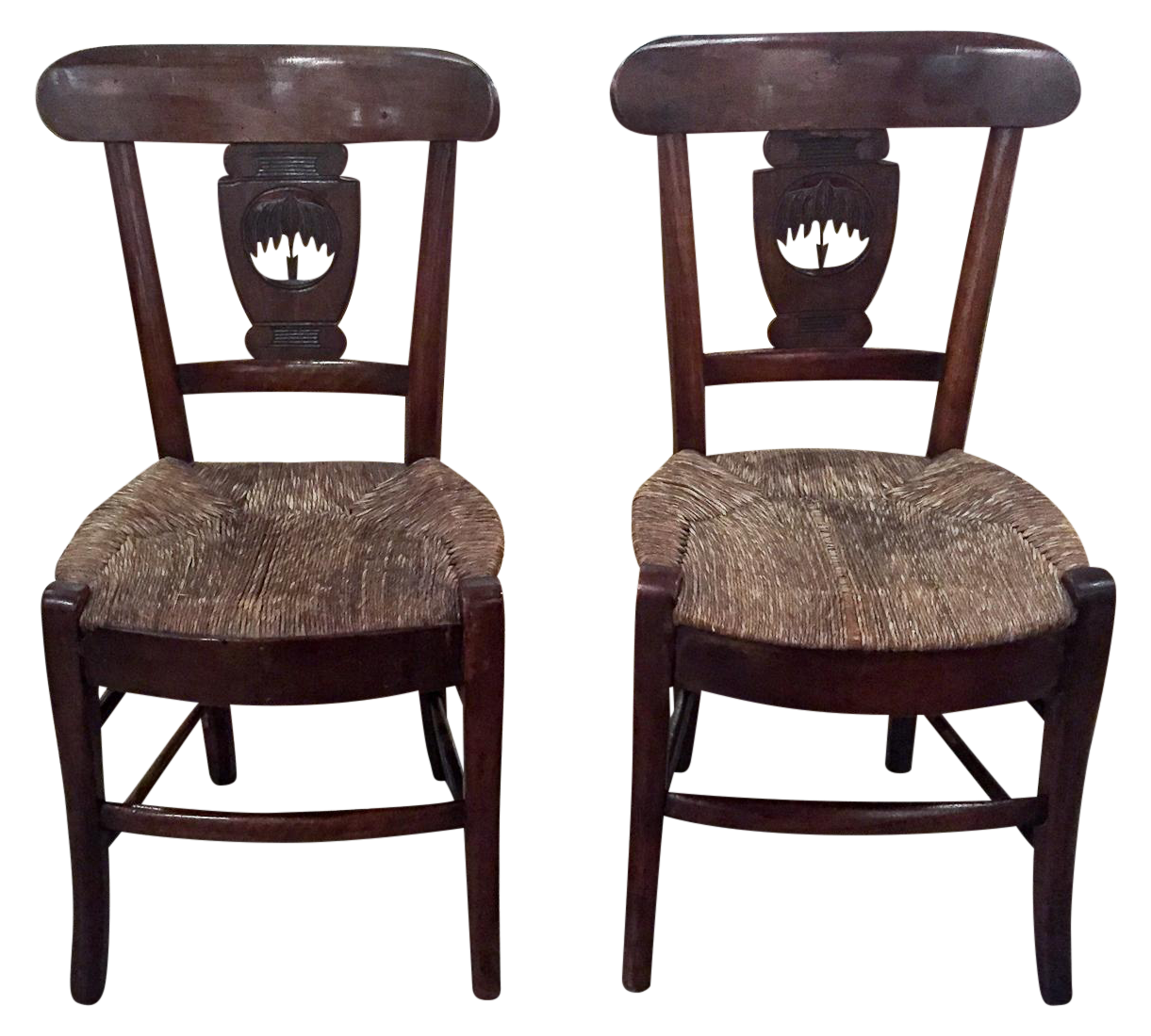 - Antique Rush Seat Chairs - A Pair Chairish
