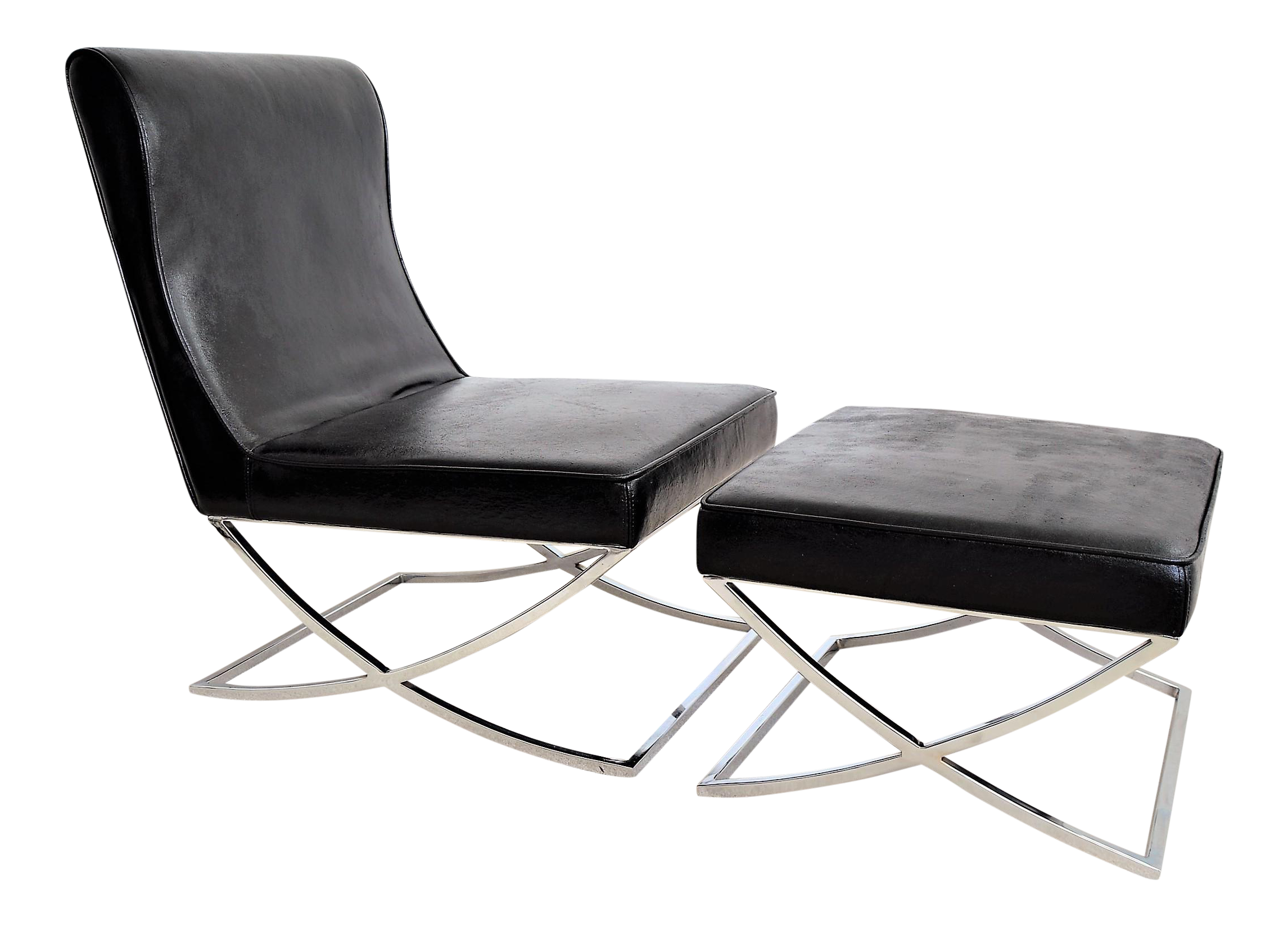 Vintage Black Vinyl and Chrome Barcelona Style Lounge Chair and