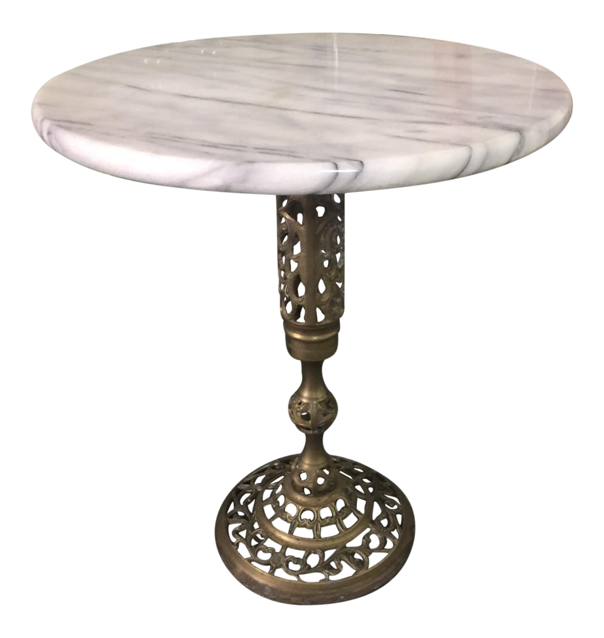 Vintage Marble Top Brass Side Table Chairish