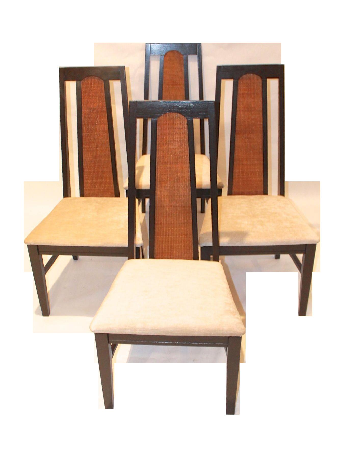 Mid Century Modern Cane Back Ebonised Chairs 4