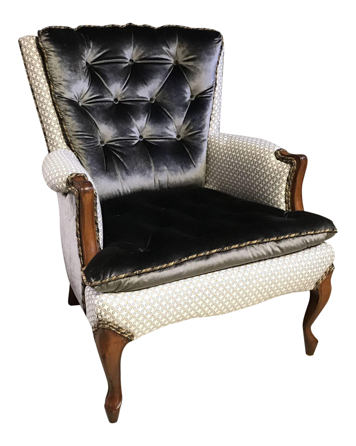 French style regina tufted bergere chair chairish for Table bergere