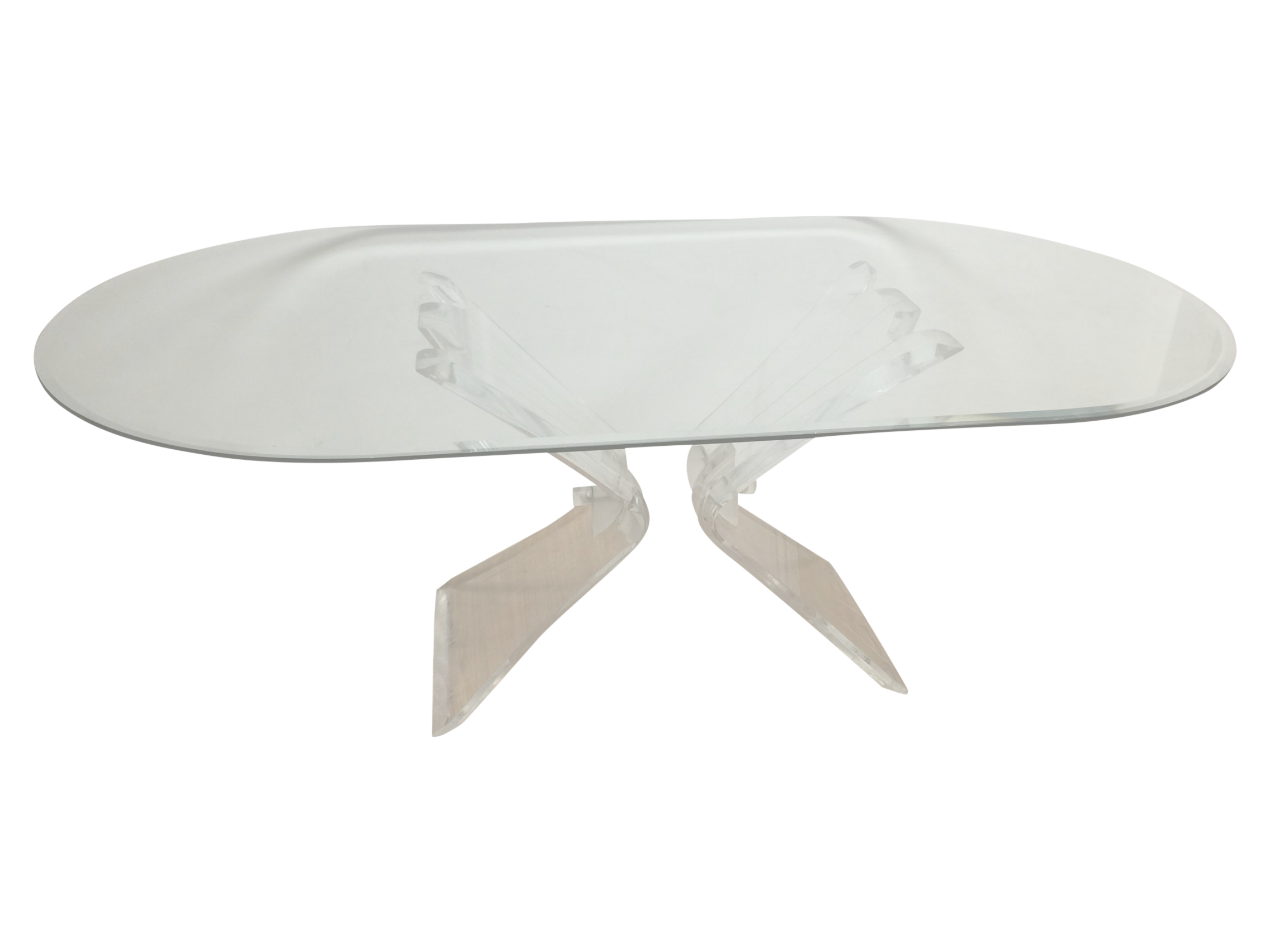 thick lucite oval glass dining table chairish