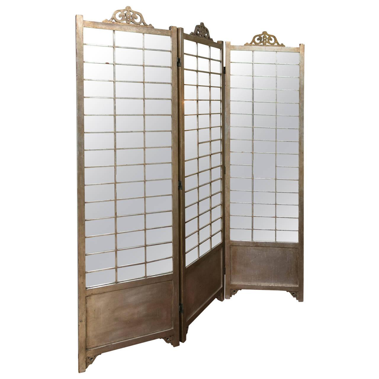 hollywood regency mirror silver gilt screen chairish. Black Bedroom Furniture Sets. Home Design Ideas