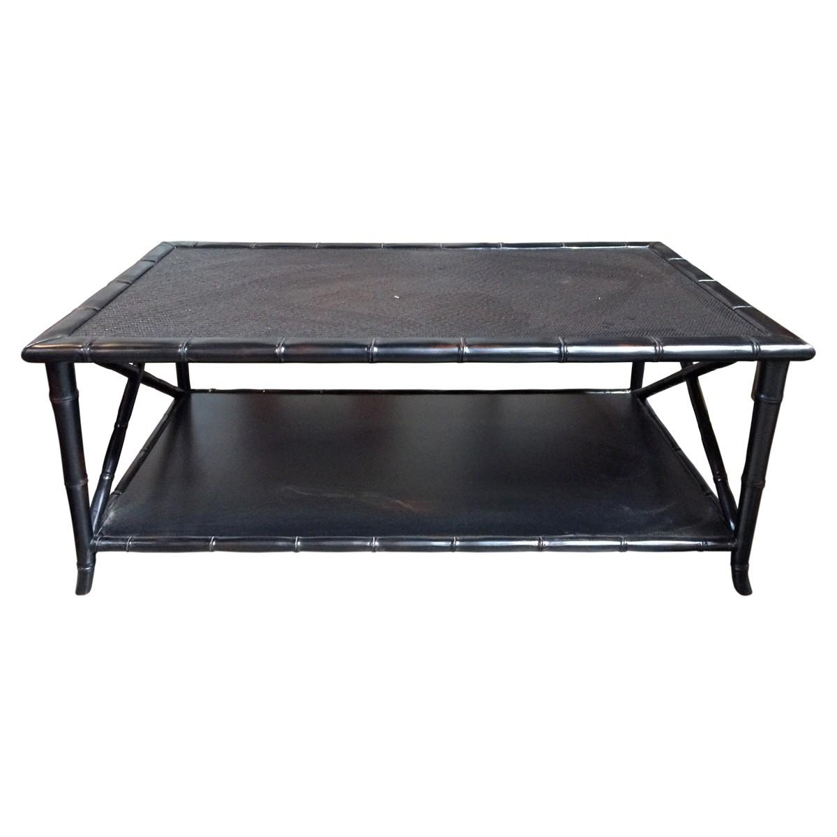 Asian Style Bamboo Caning Coffee Table Chairish