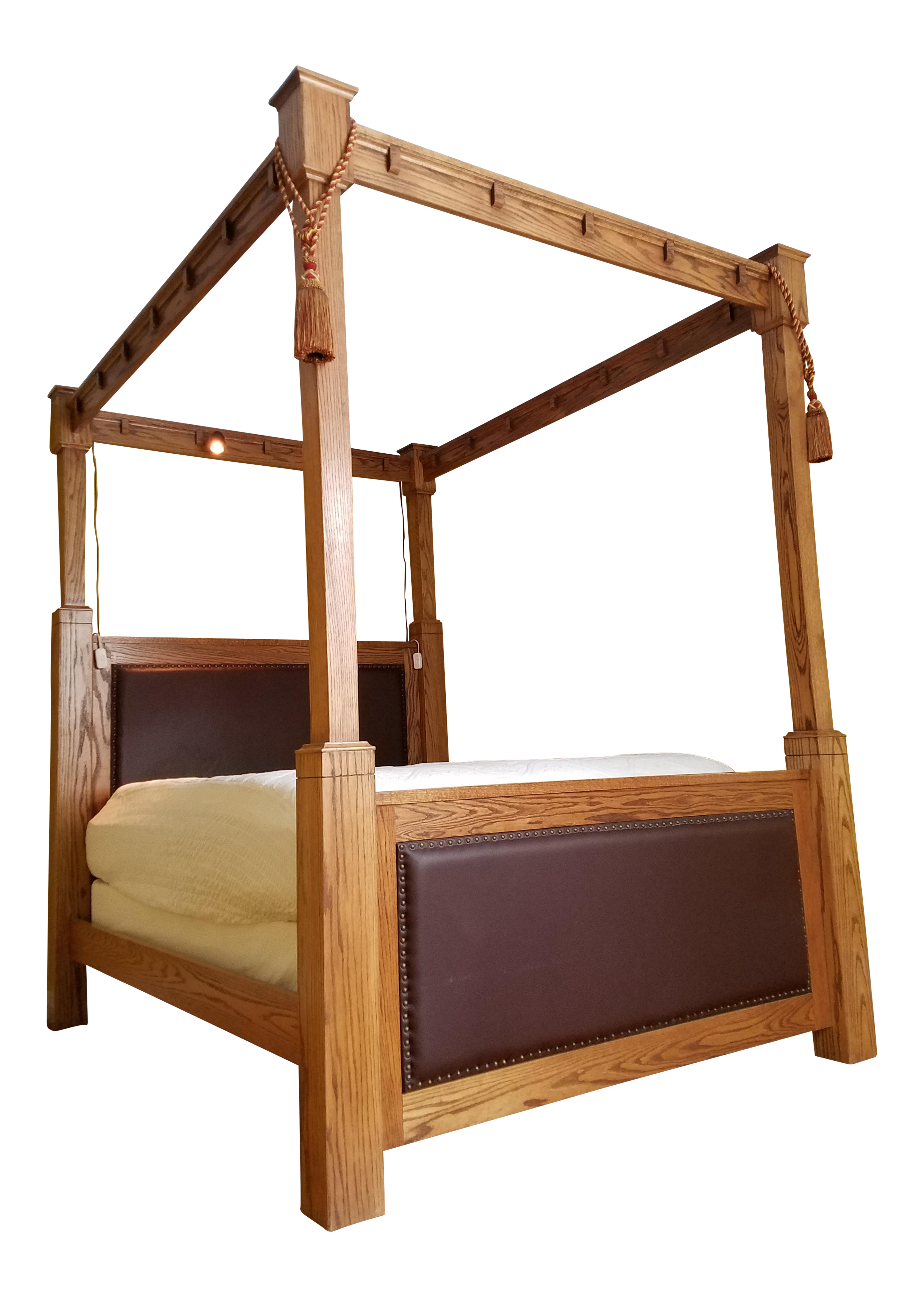 Custom made mission style cross cut oak queen size tall for Custom made bed frame