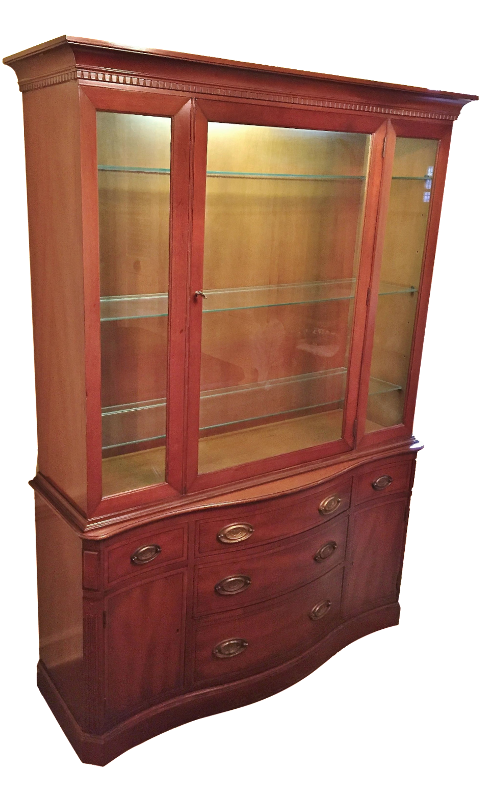 henredon heritage regency style lighted china cabinet | chairish