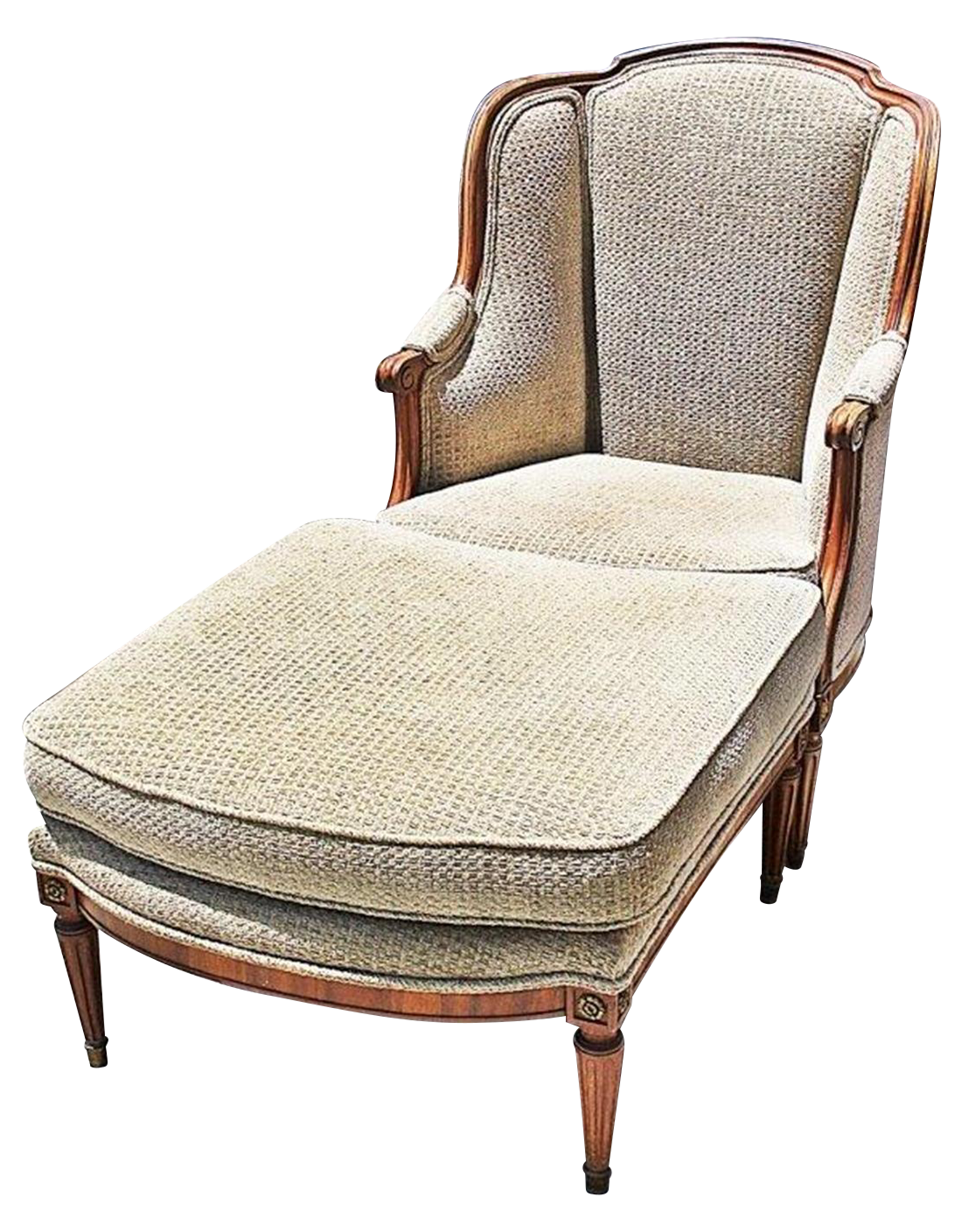 louis xvi style duchesse brisee chaise ottoman a pair chairish. Black Bedroom Furniture Sets. Home Design Ideas