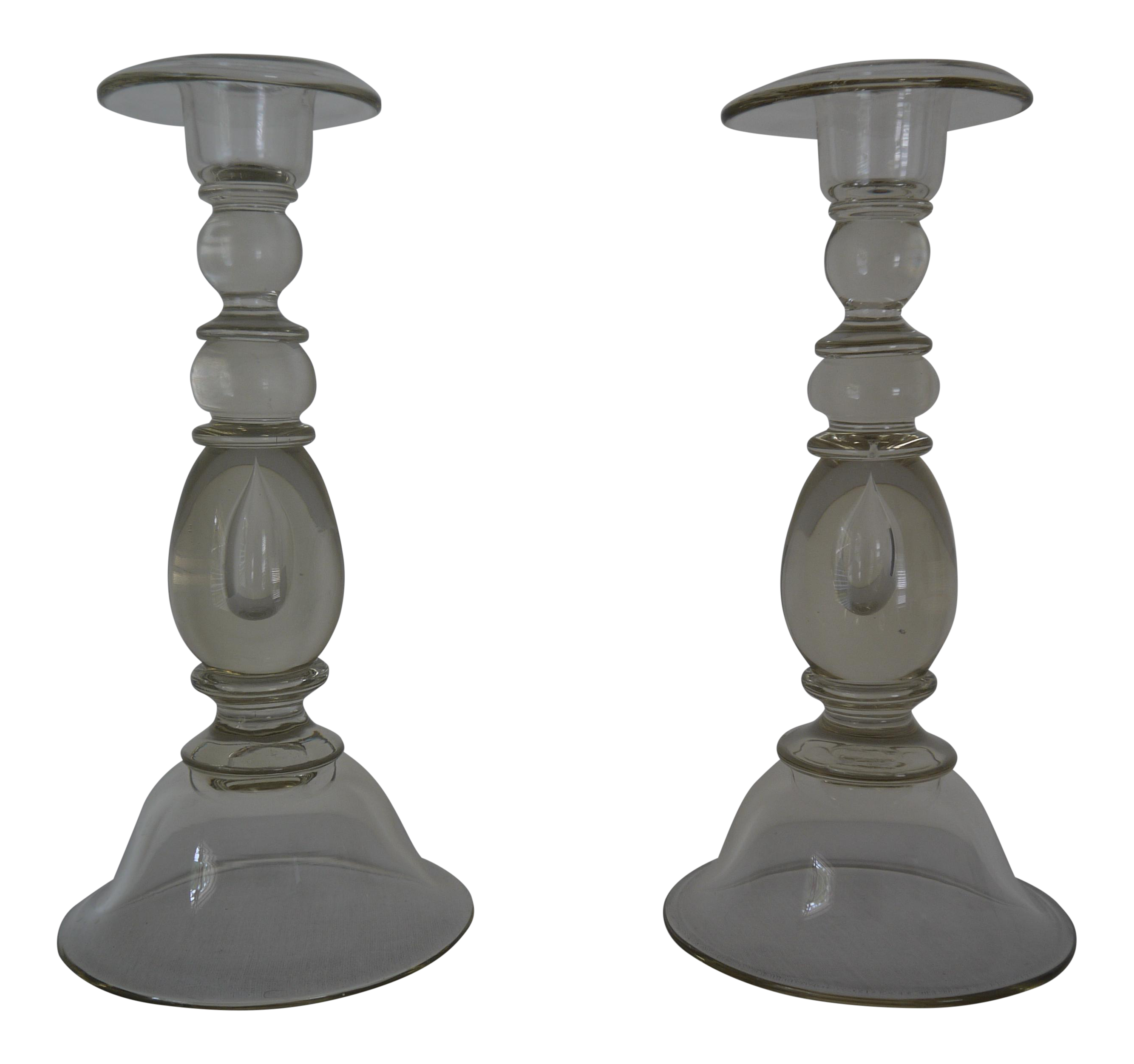 glass blown candle holders a pair chairish With kitchen cabinets lowes with glass blown candle holders
