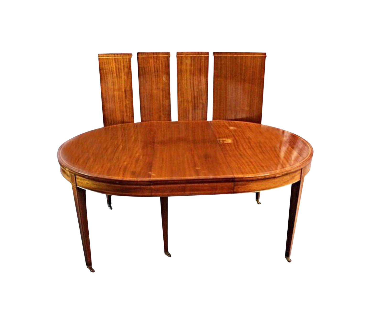 Sheraton Style Inlaid Dining Table With Five Leaves Chairish