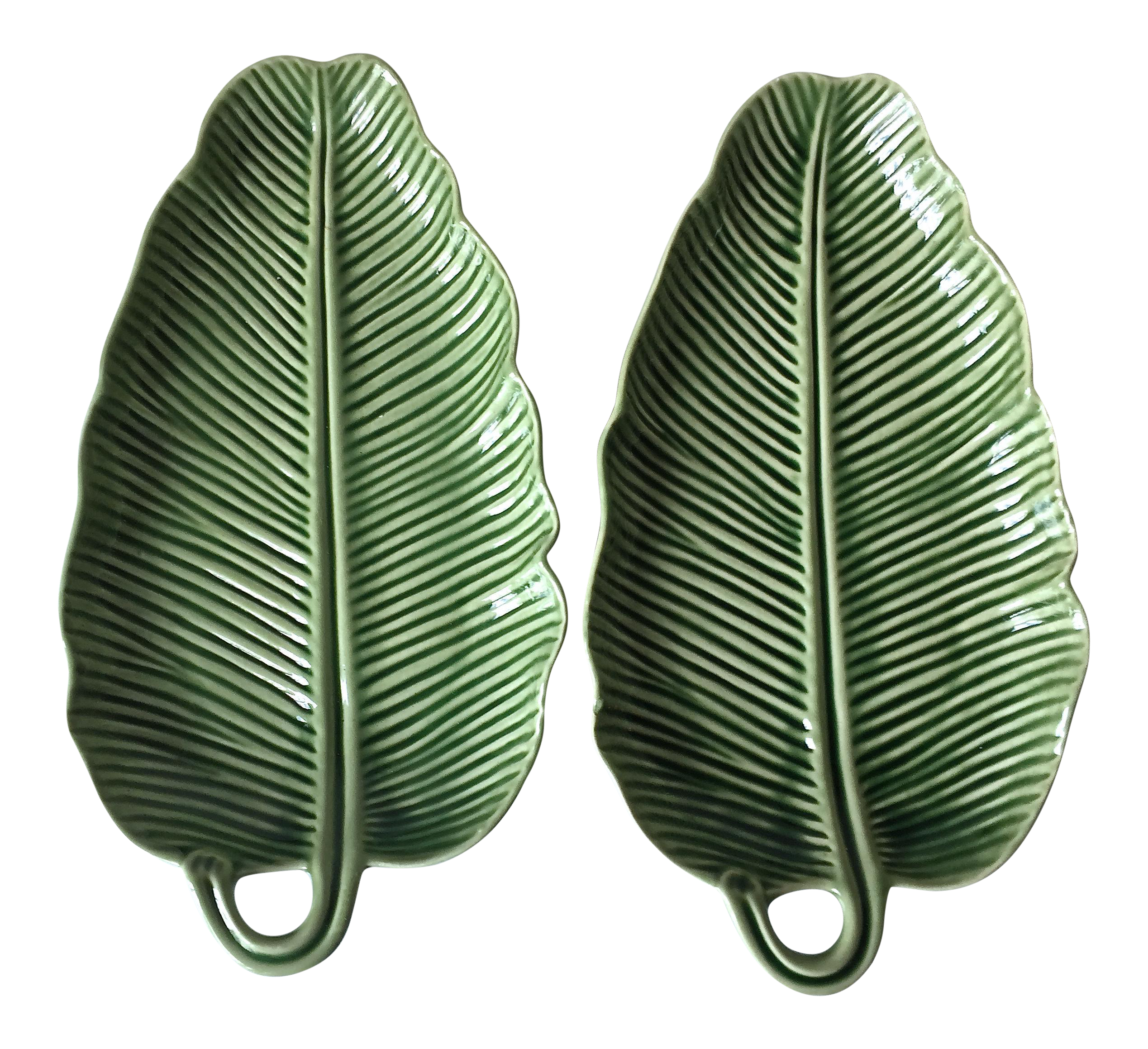 Bordallo Pinheiro Green Majolica Banana Leaf Dishes A Pair